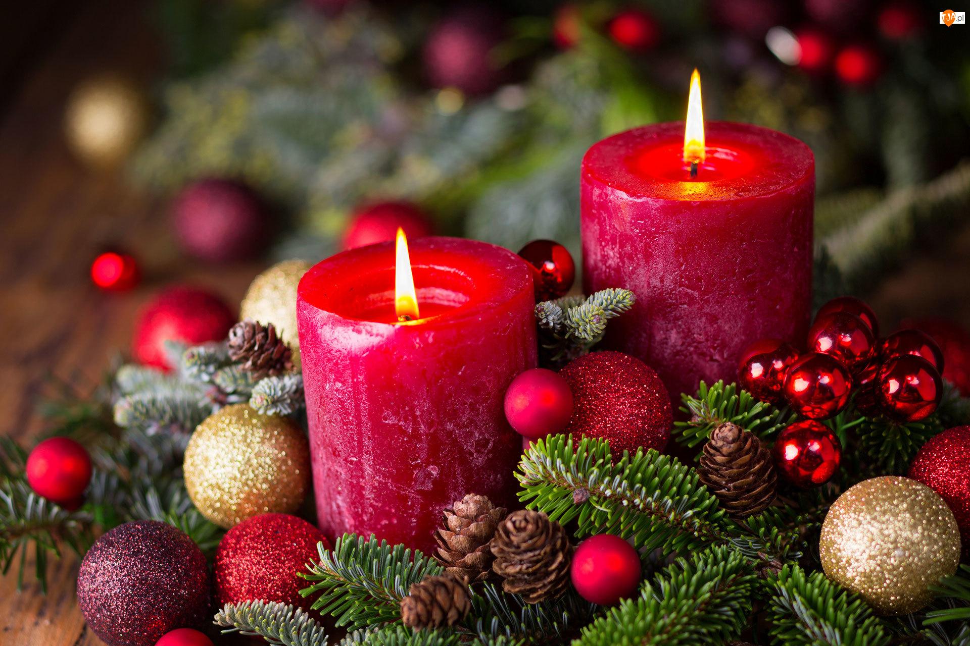 Dwie, Kompozycja, Adwent, Boże Narodzenie, Świece
