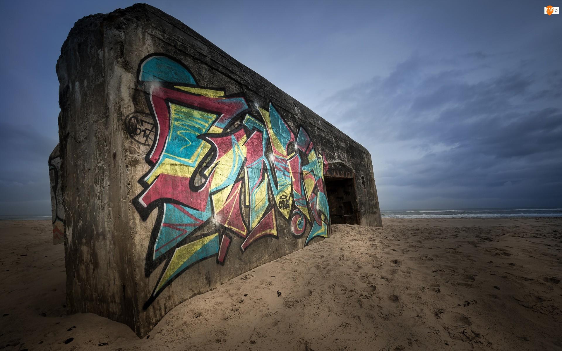 Betonowy, Plaża, Ściana, Morze, Blok, Graffiti