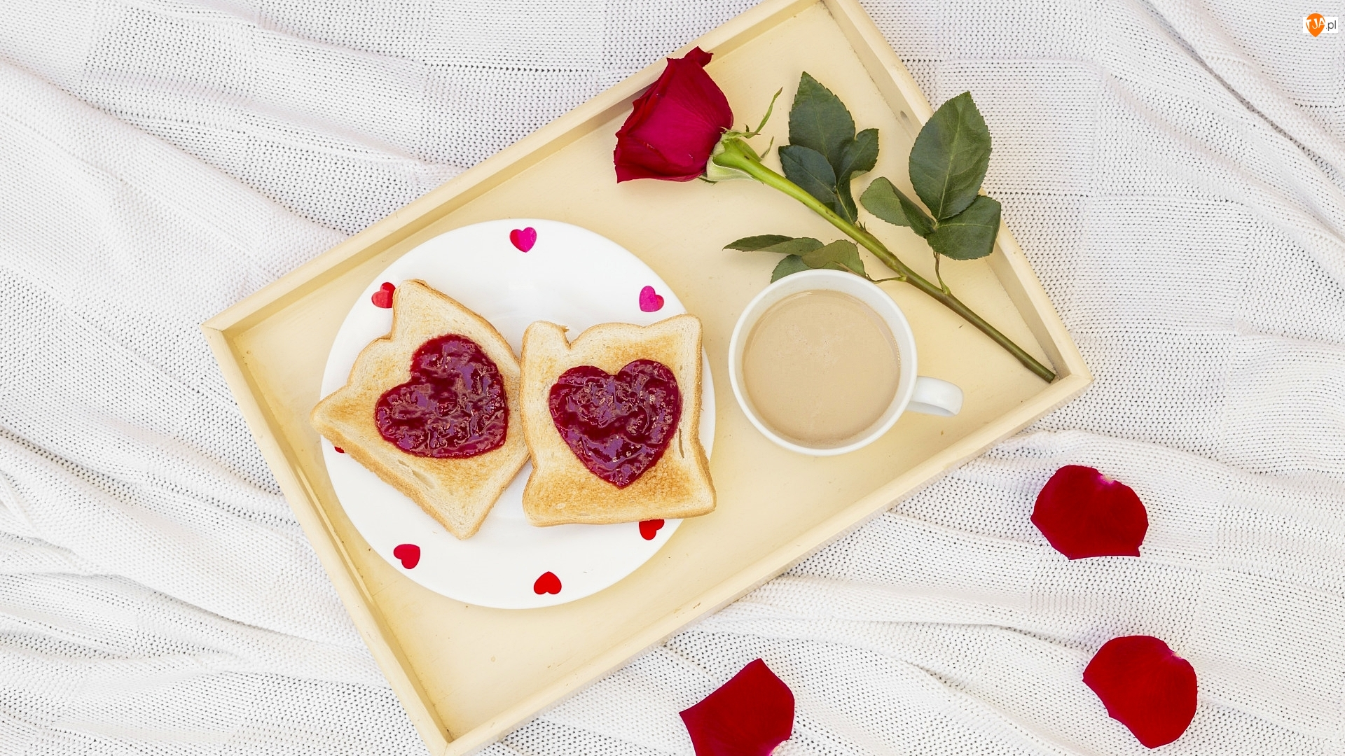 Śniadanie, Walentynki, Kawa, Taca, Tosty, Róża