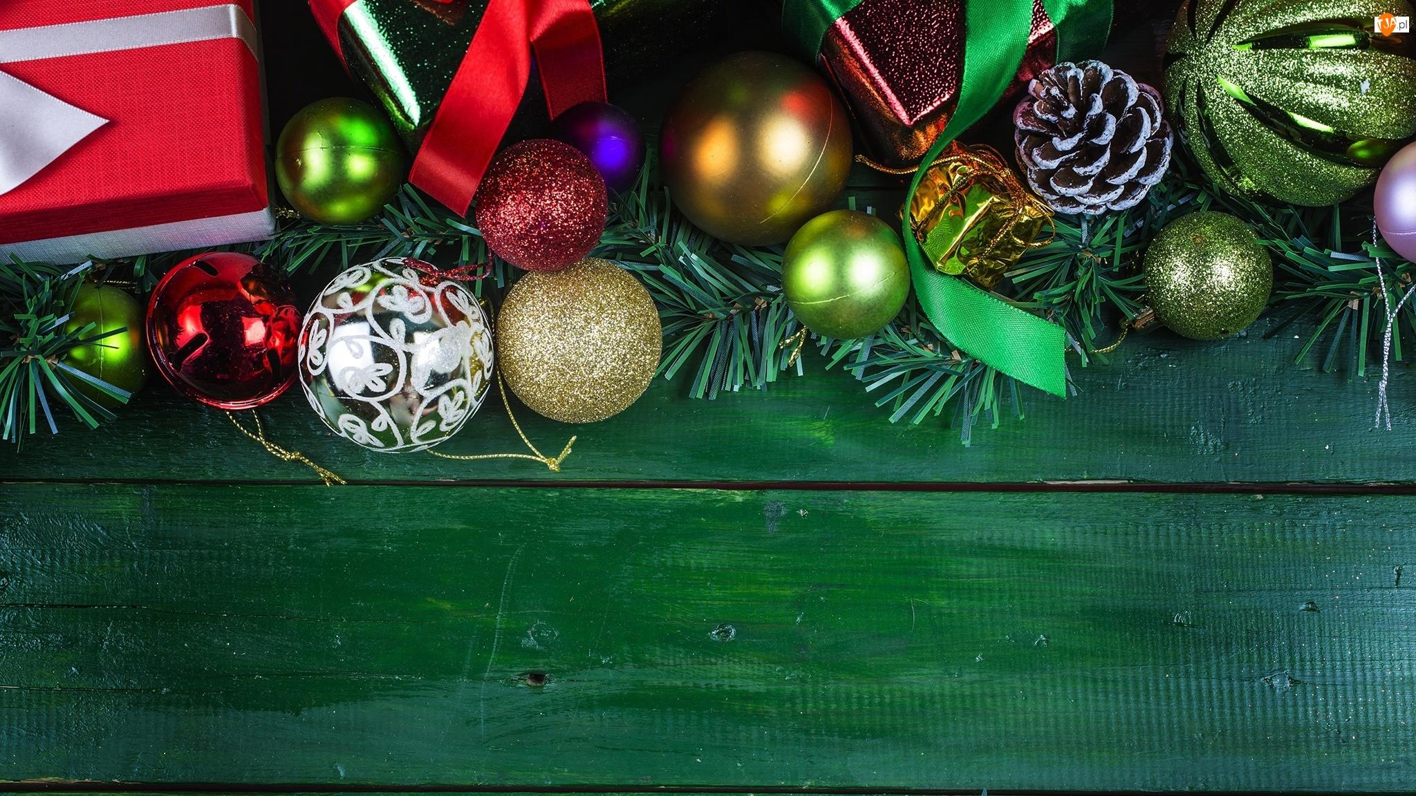 Bombki, Gałązki, Deski, Boże Narodzenie, Zielone, Prezenty, Szyszka