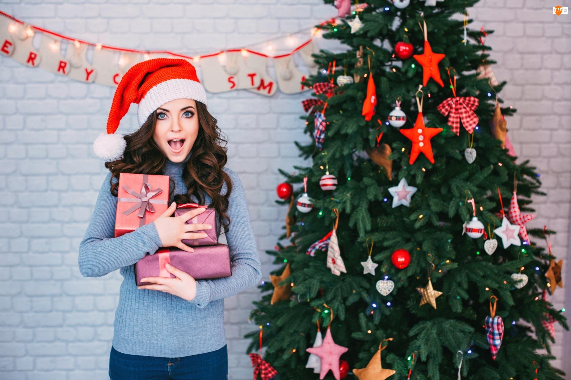 Prezenty, Boże Narodzenie, Kobieta, Choinka