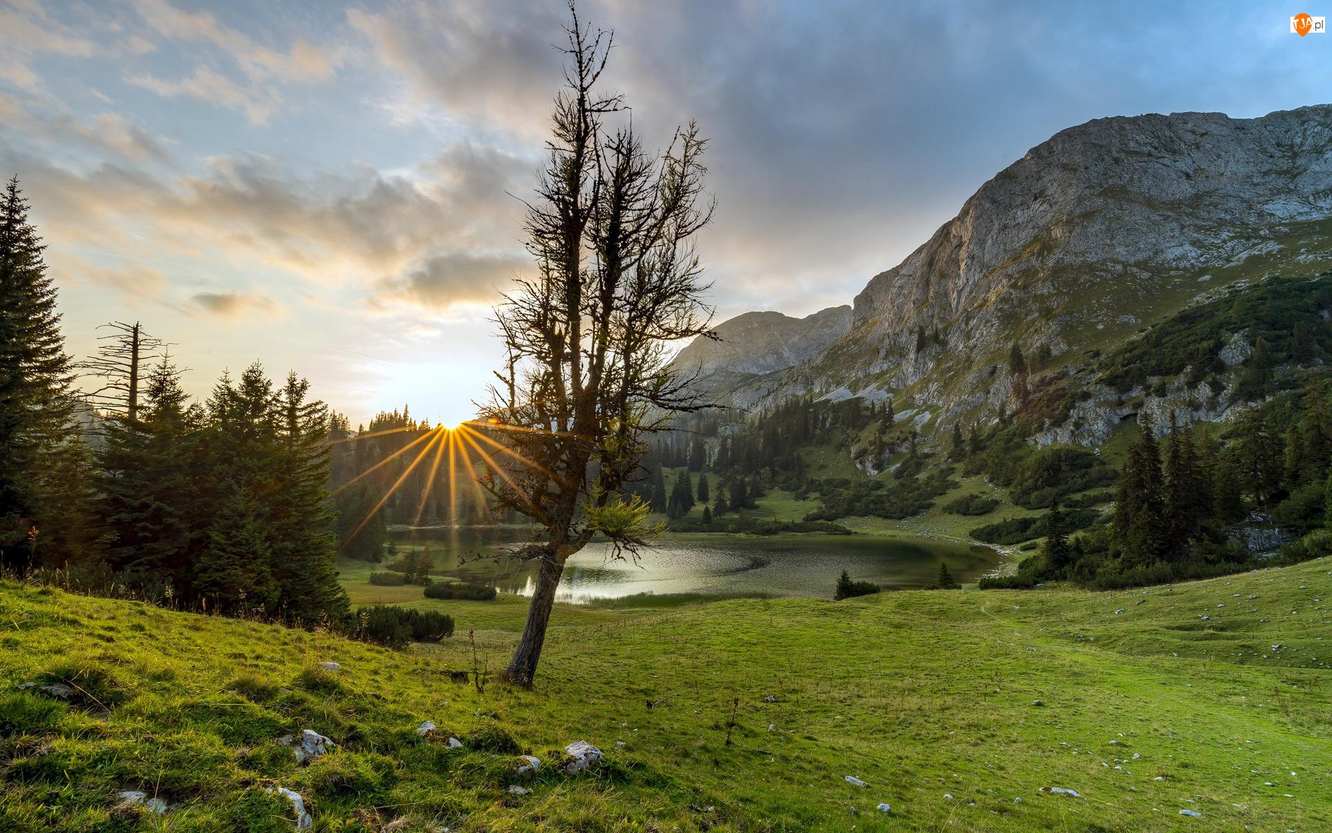 Jezioro, Góry, Promienie słońca, Roślinność, Drzewo, Chmury
