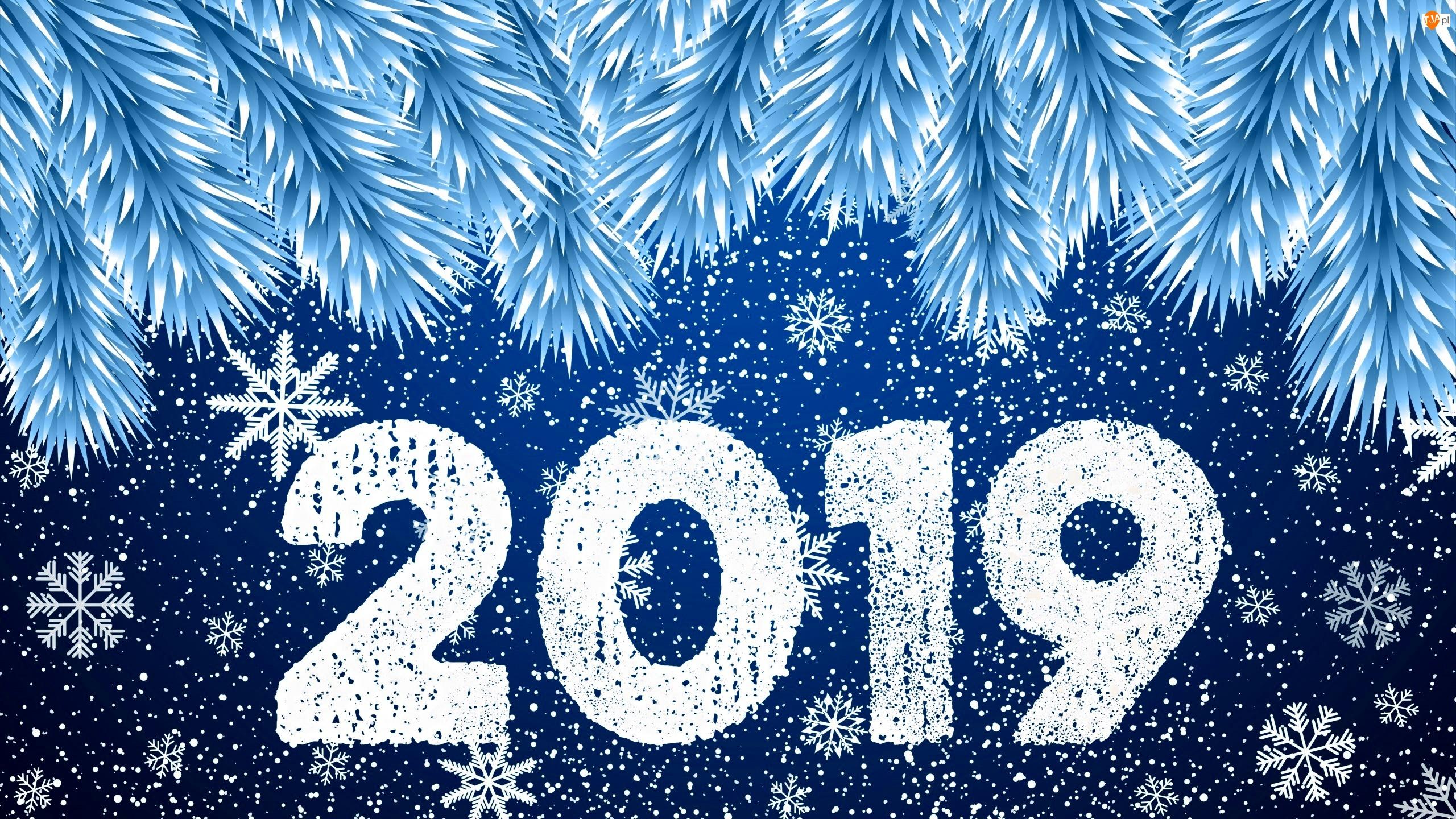 Śnieżynki, Grafika, 2019, Nowy Rok, Świerk