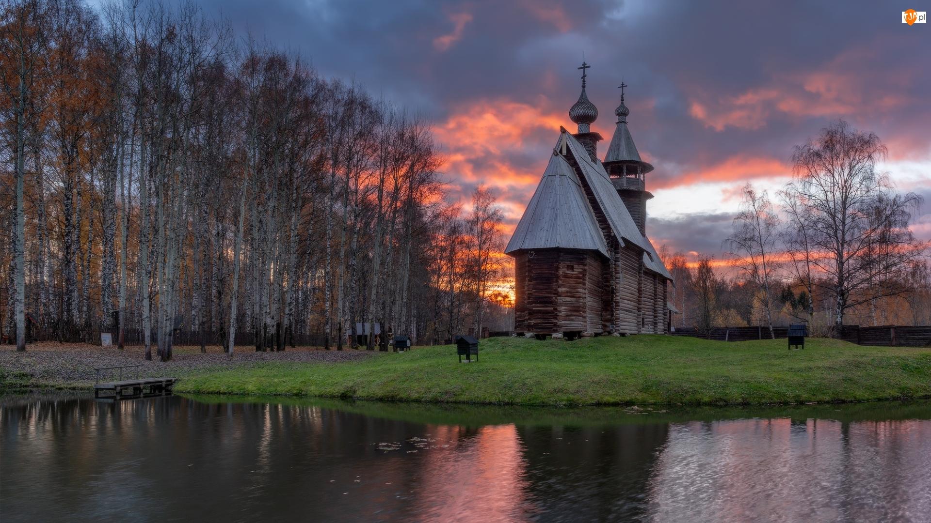Cerkiew, Rzeka, Rosja, Drewniana, Kostroma, Brzozy, Drzewa