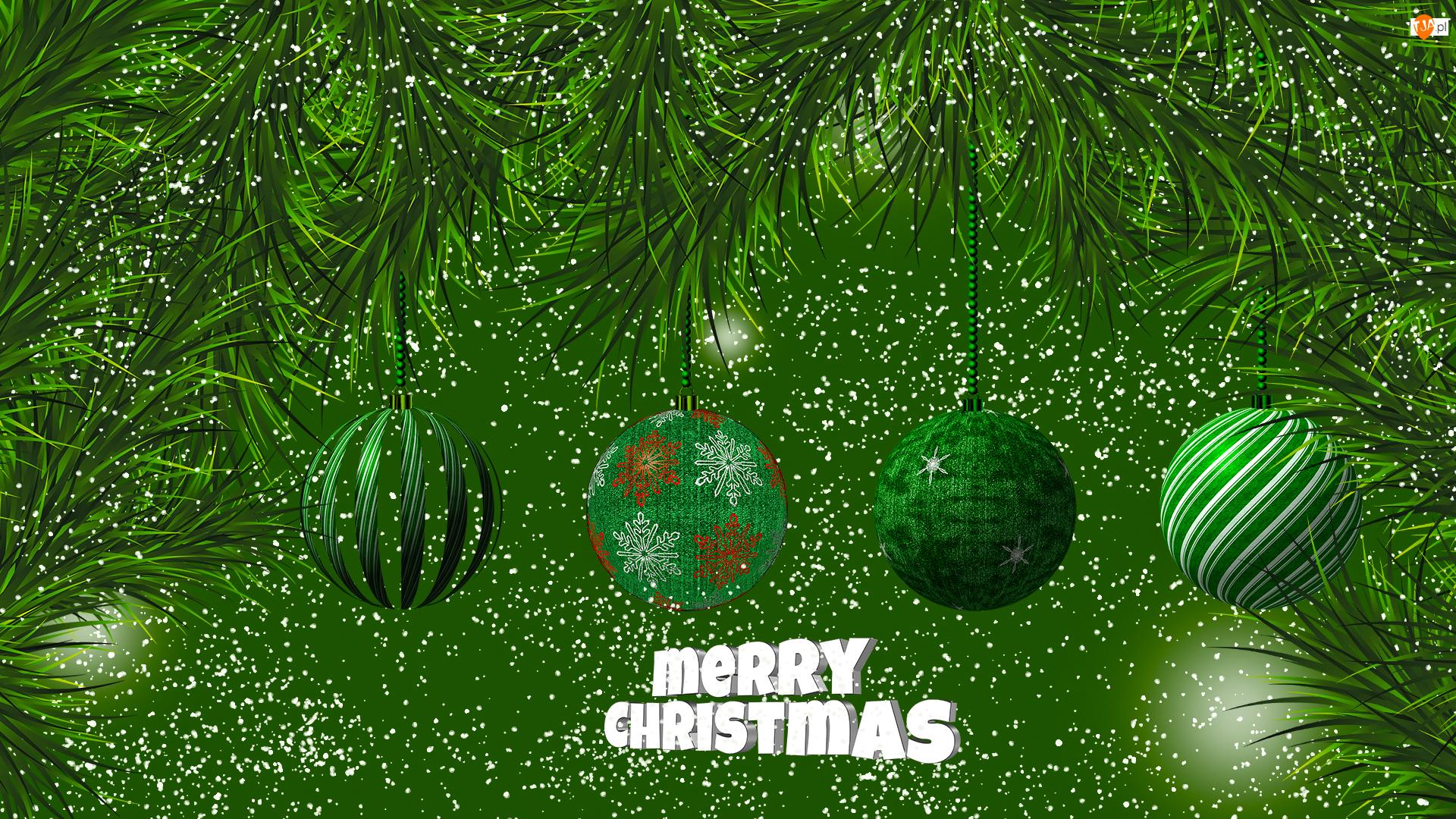 Gałązki, Bombki, Świąteczne, Zielone tło, Życzenia, Grafika