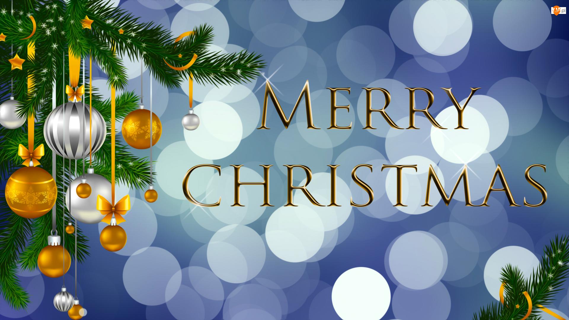 Bombki, Życzenia, Boże Narodzenie, Grafika, Gałązki