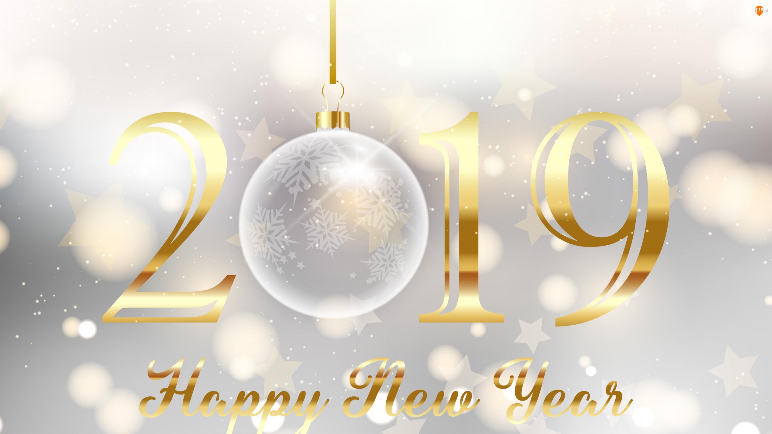 2019, Nowy Rok, Happy New Year, Gwiazdki, Napis, Bombka