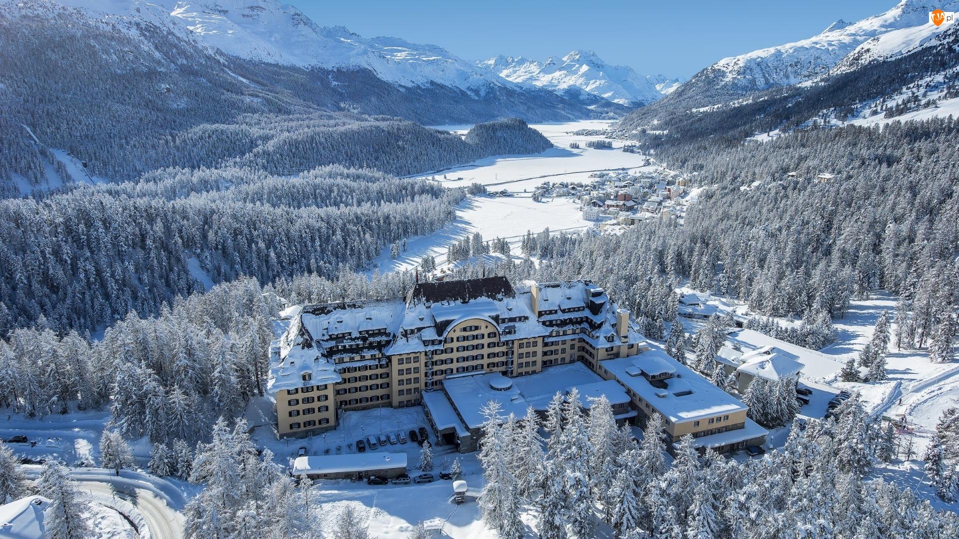 Dolina Engadine, Hotel, Góry, Sankt Moritz, Suvretta House, Lasy, Szwajcaria, Zima