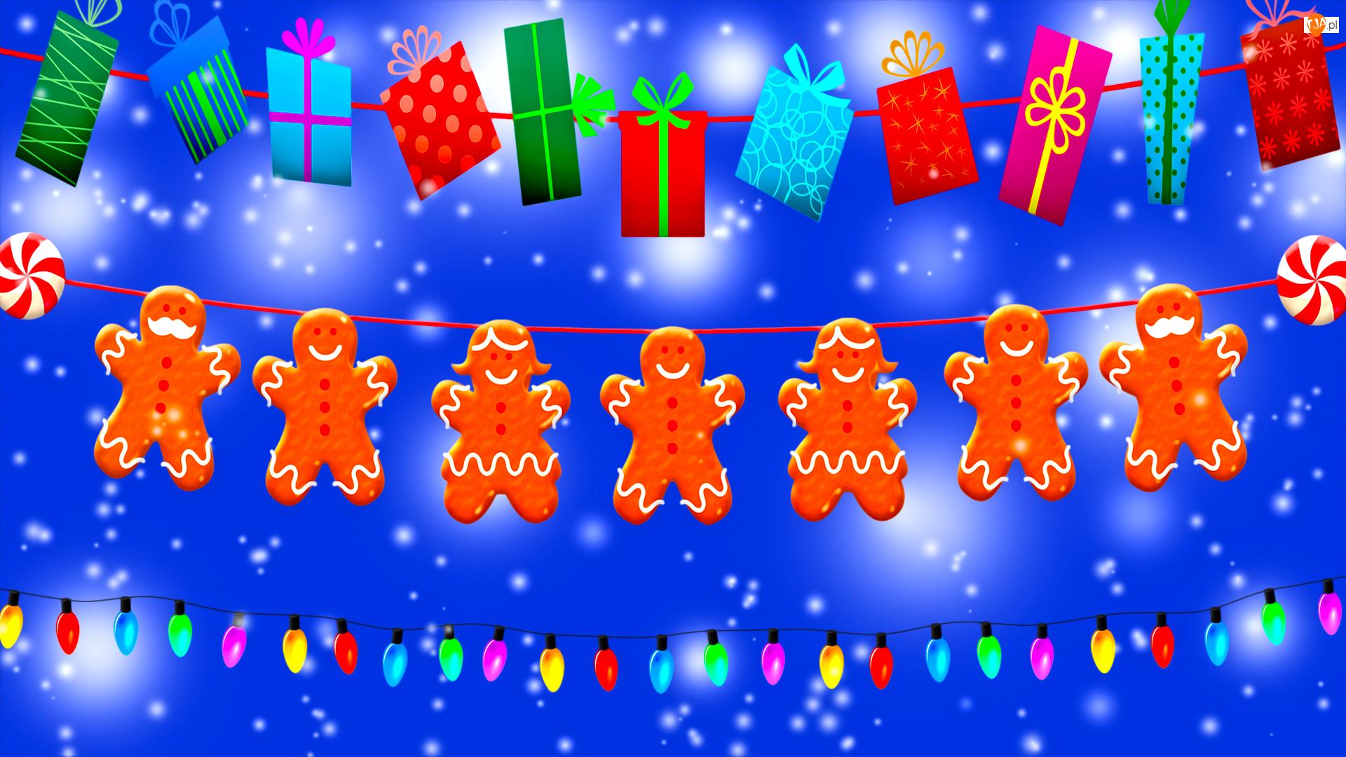 Prezenty, Pierniki, Świąteczna, Grafika, Światełka