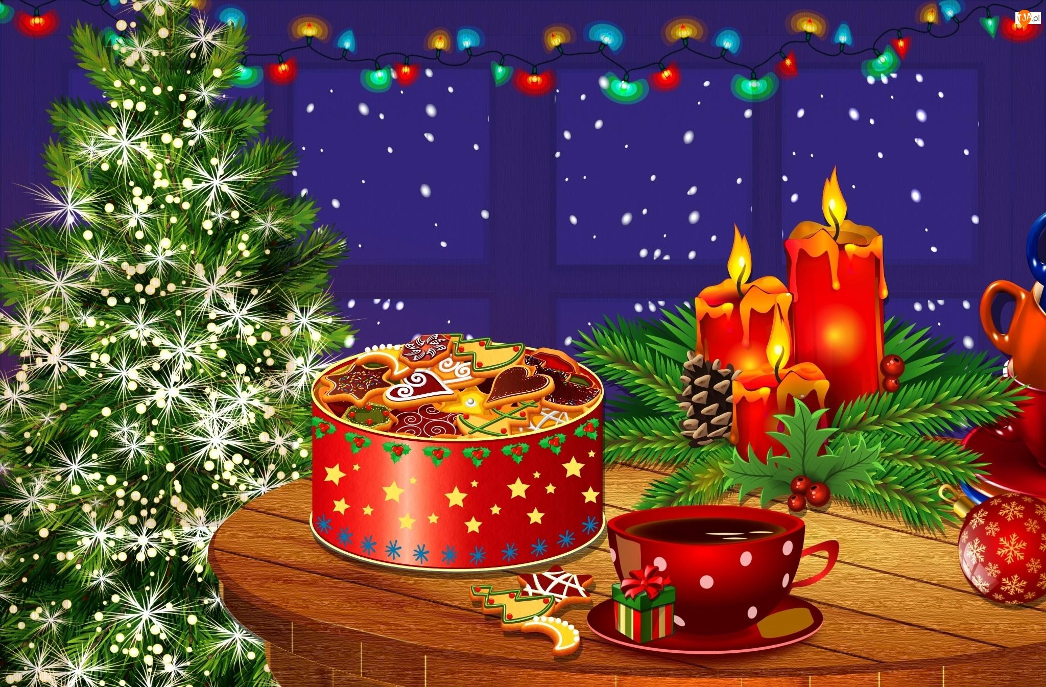 Pudełko, Boże Narodzenie, Świeczki, Ciasteczka, Choinka, Stroik, Grafika, Stół
