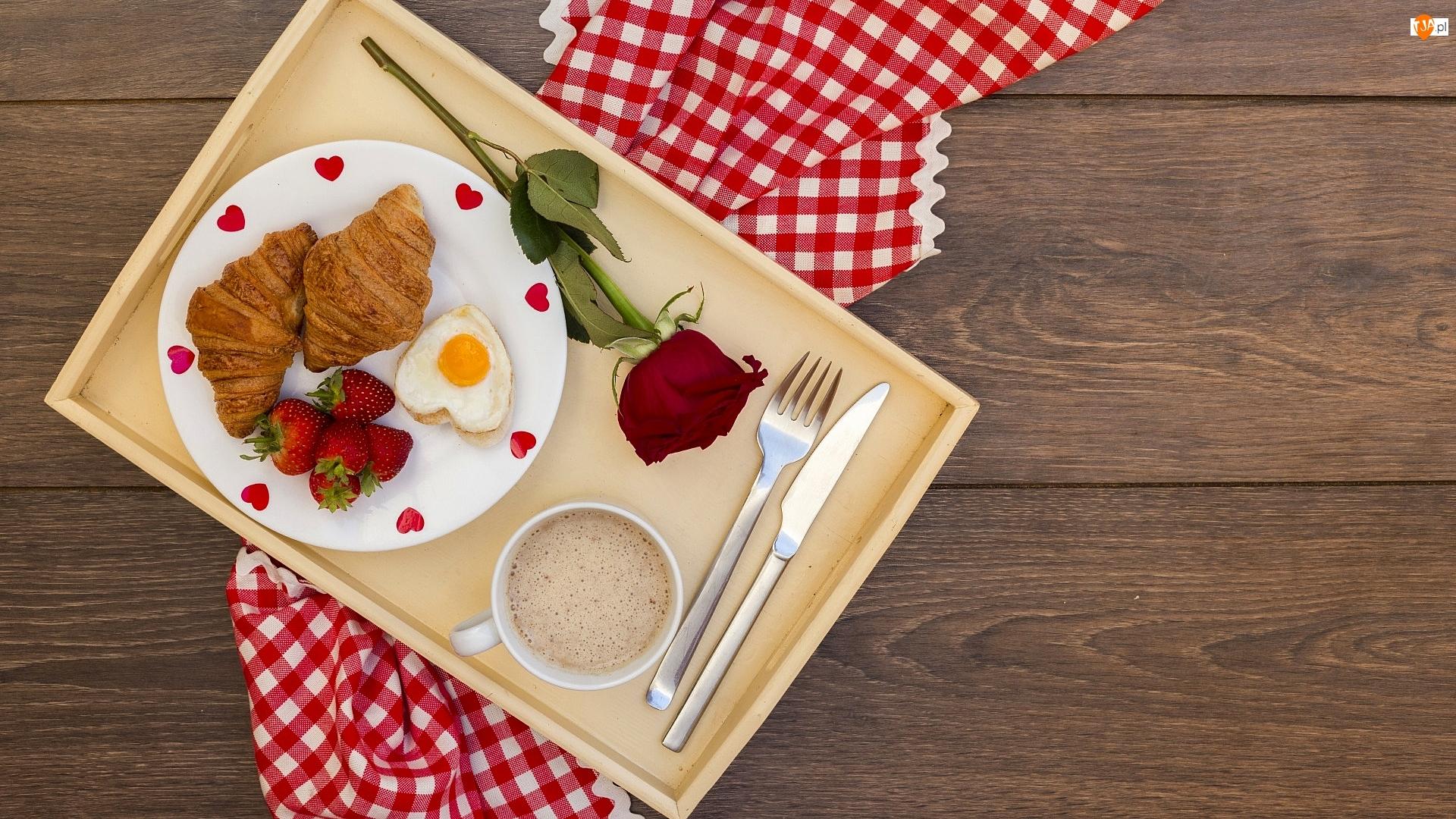 Walentynki, Kawa, Róża, Śniadanie, Truskawki, Croissanty, Jajko