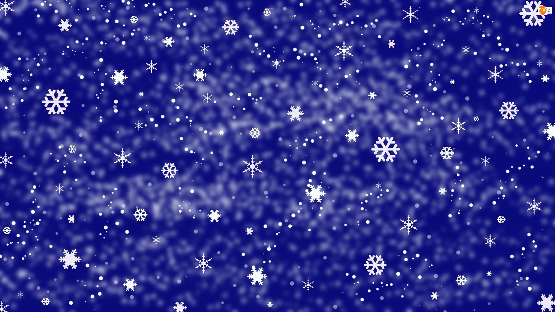 Śniegu, Niebieskie tło, Płatki, Tekstura, Gwiazdki