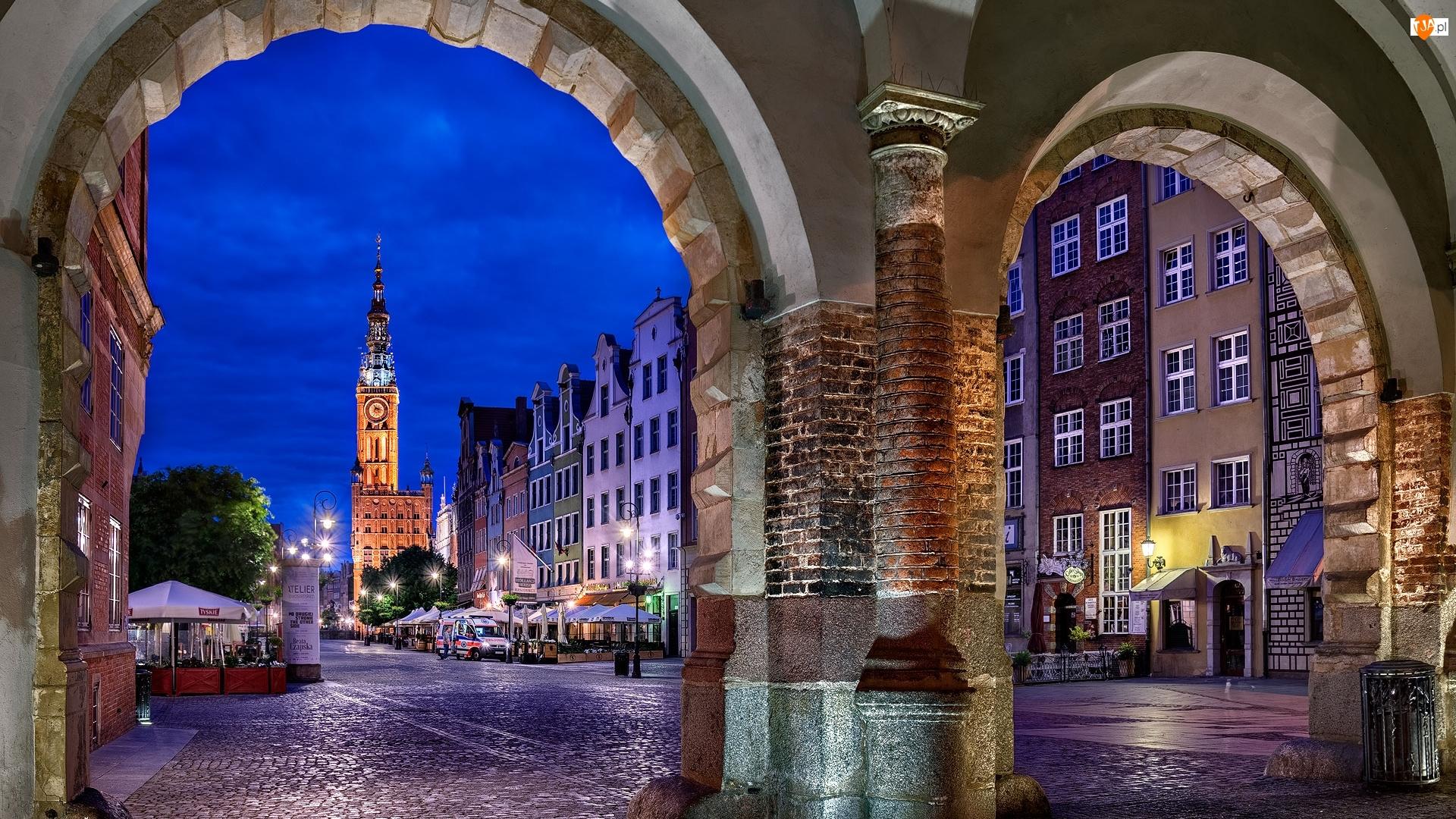 Domy, Ulica, Brama, Polska, Ratusz, Gdańsk