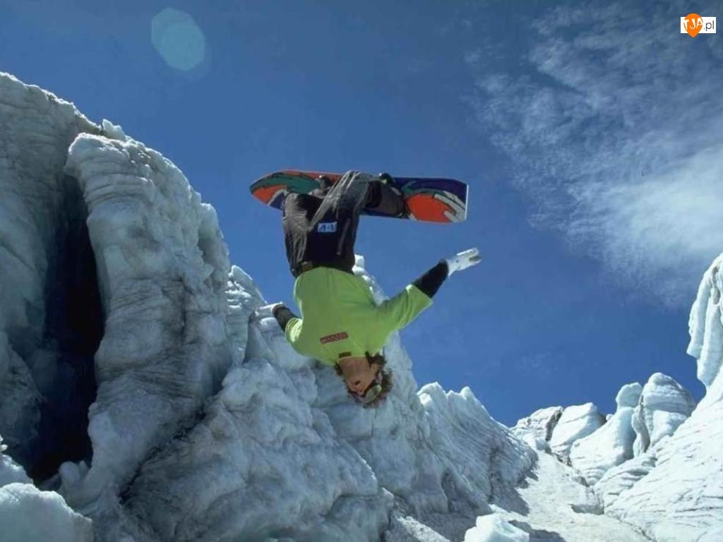 śnieg, Snowbording, deska, Zima, snowboardzista