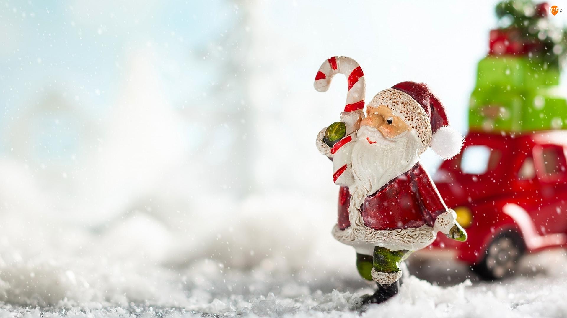 Lizak, Mikołaj, Zima, Śnieg, Autko, Padający