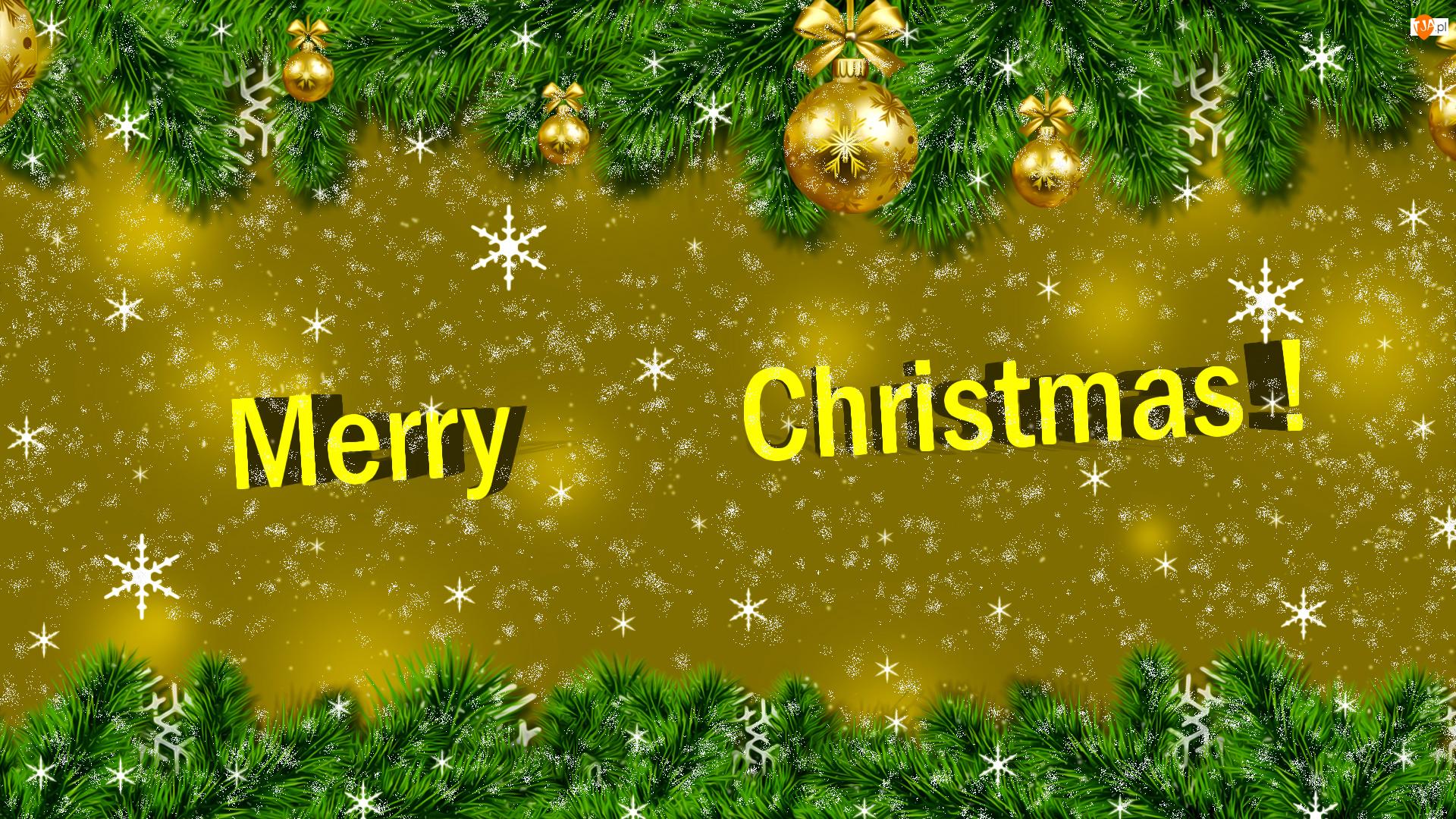 Grafika, Boże Narodzenie, Bombki, Gałązki
