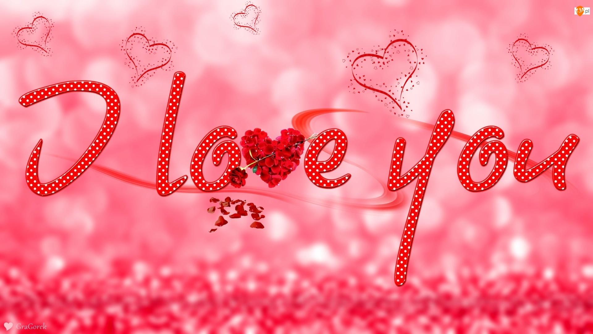 Serca, Walentynki, Napis, Grafika, Tło, Róża