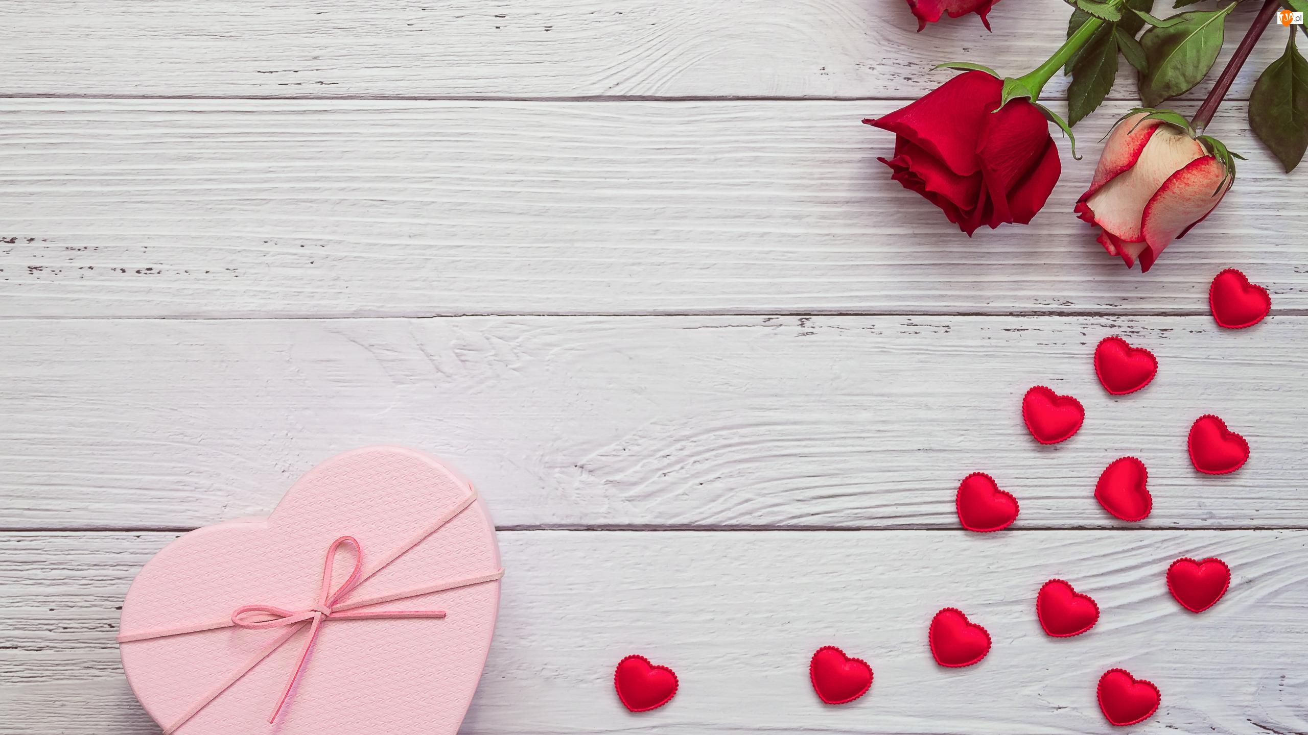 Róże, Walentynki, Miłość, Serduszka