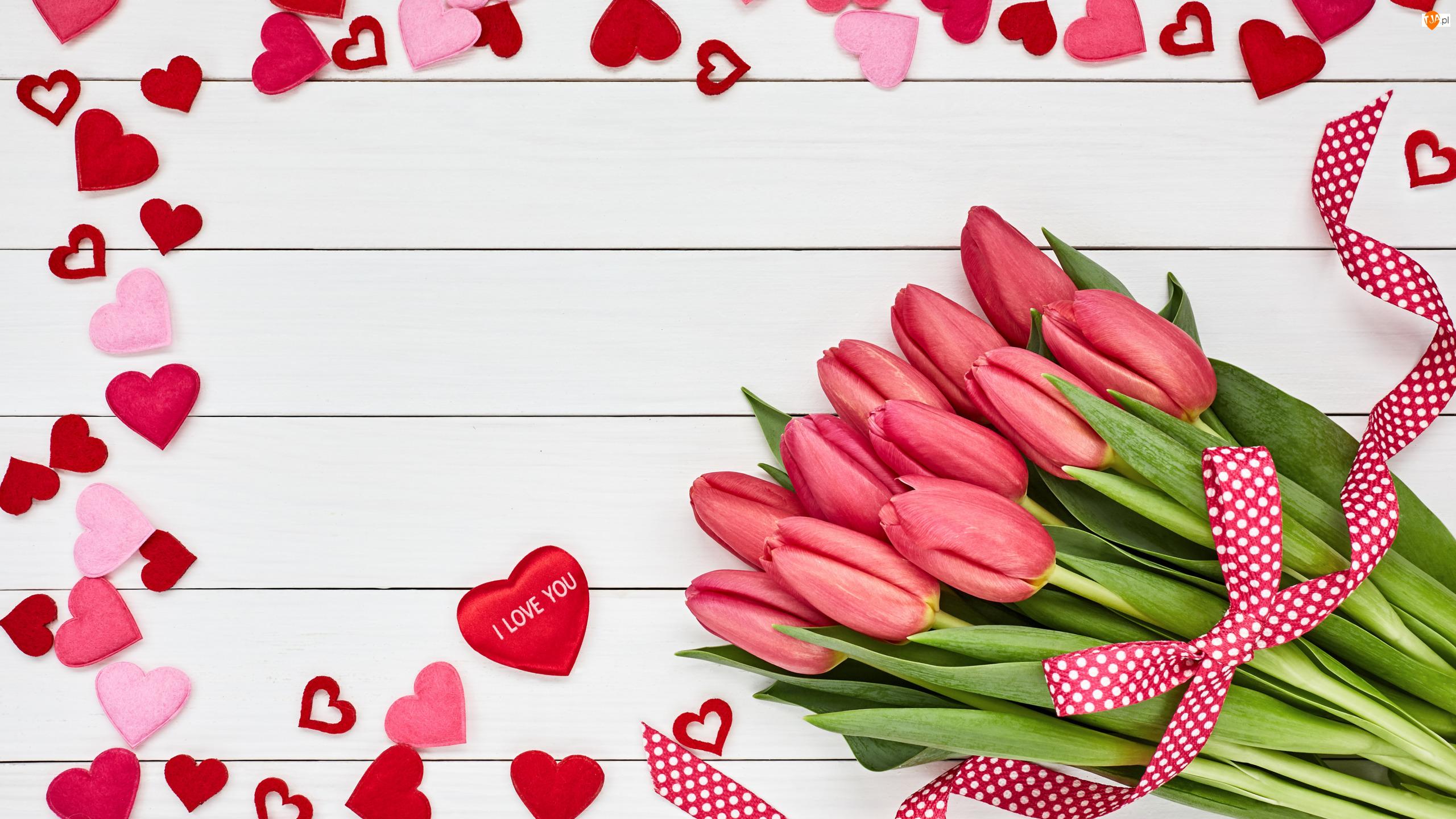 Serduszka, Walentynki, Miłość, Tulipany
