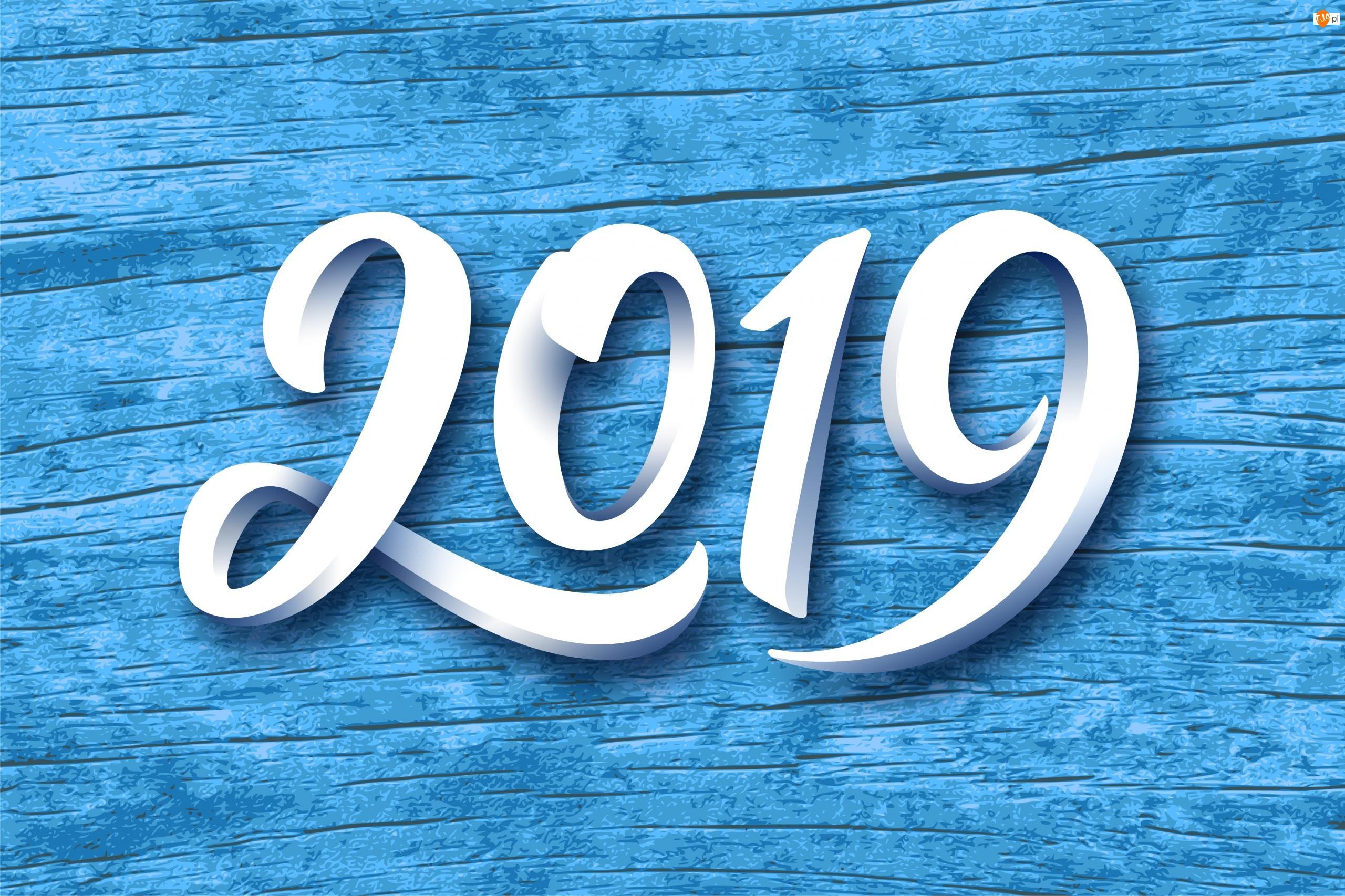 Białe, Niebieskie tło, 2019, Nowy Rok, Cyfry