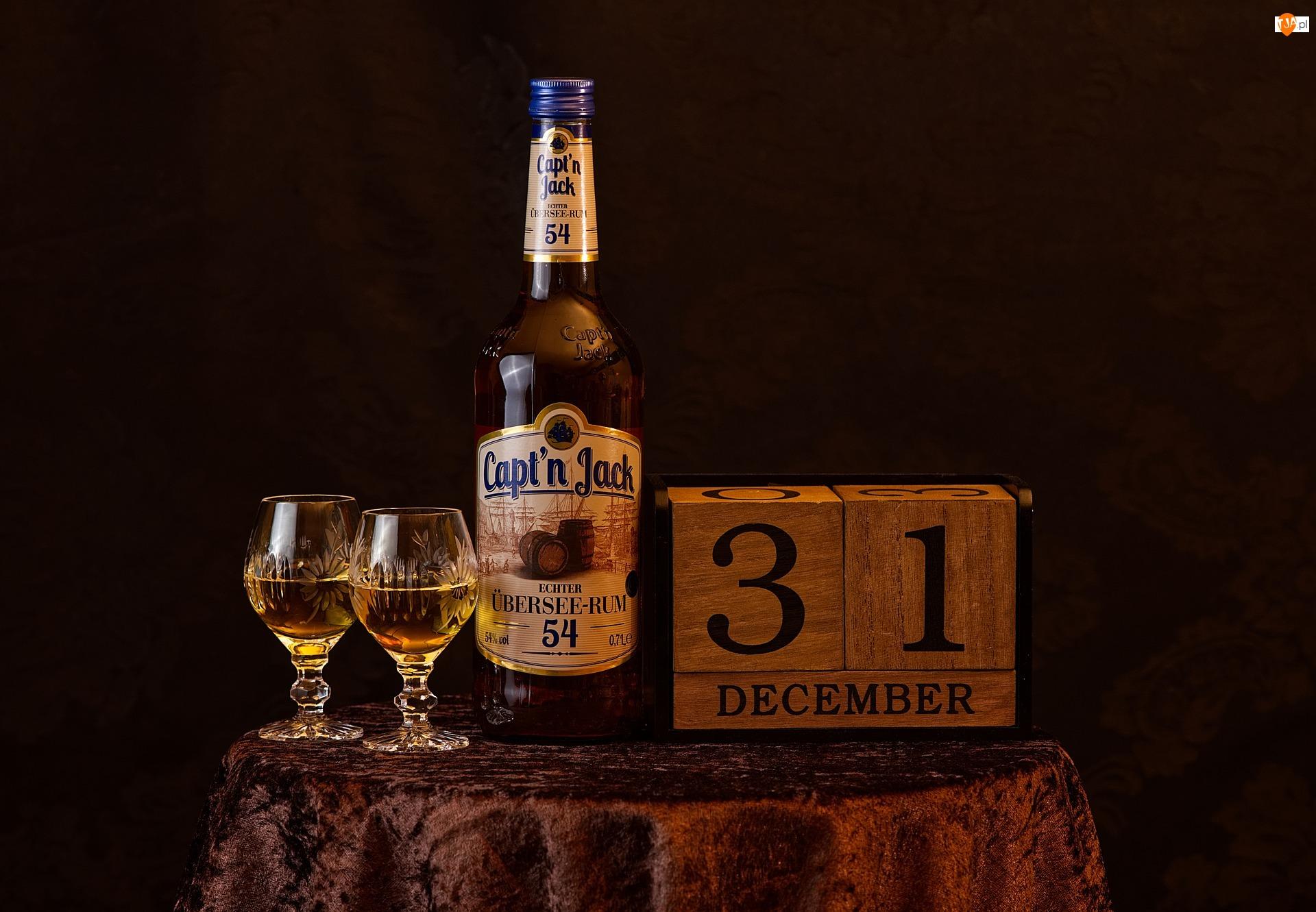 Dwa, 31 Grudzień, Rum, Butelka, Kieliszki