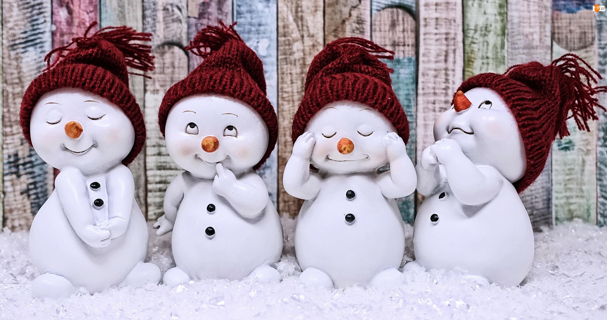 Bałwanki, Cztery, Czapeczki, Śnieg, Dzianinowe, Zima