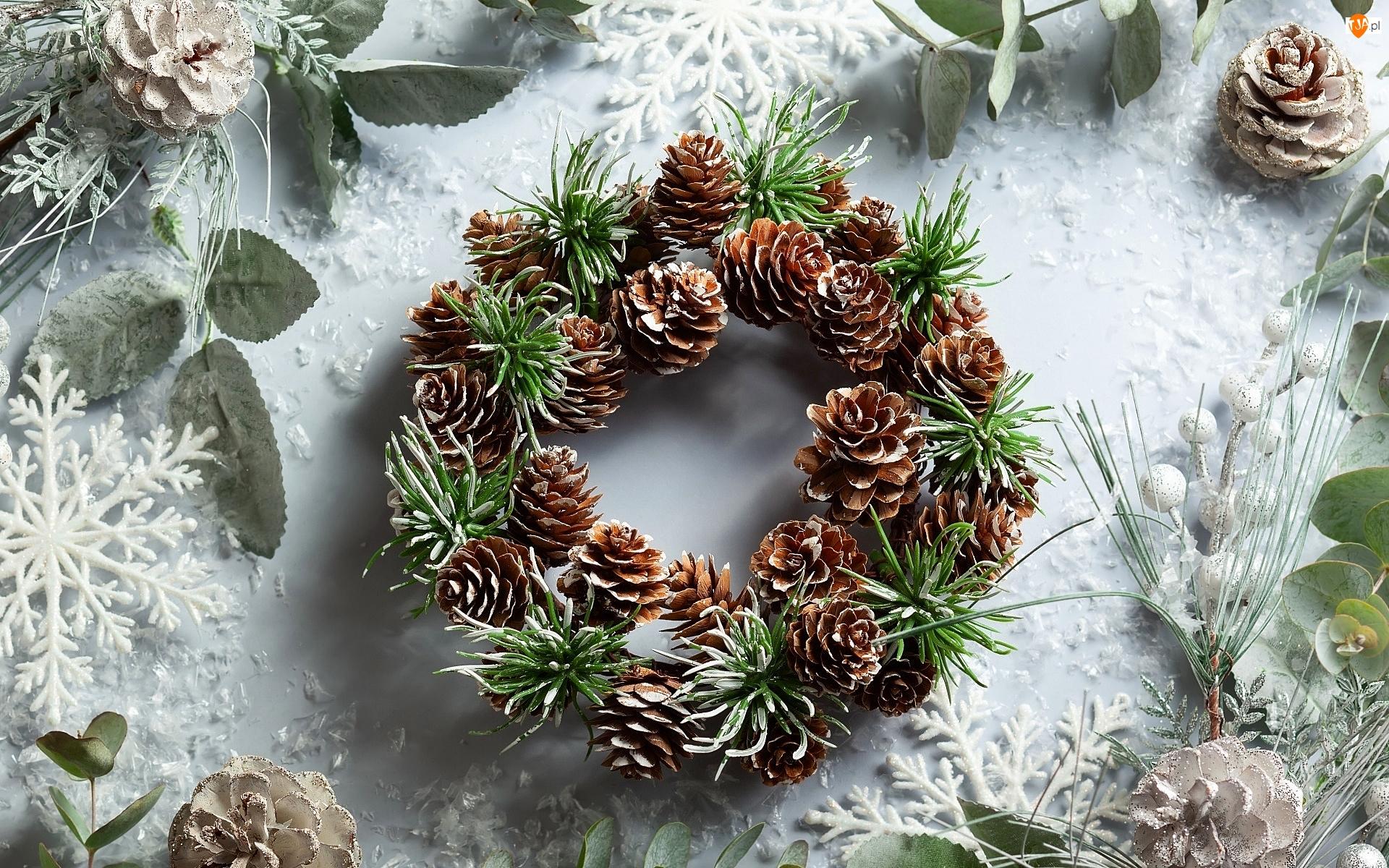 Świąteczny, Stroik, Szyszki, Liście, Wieniec, Śnieżynki