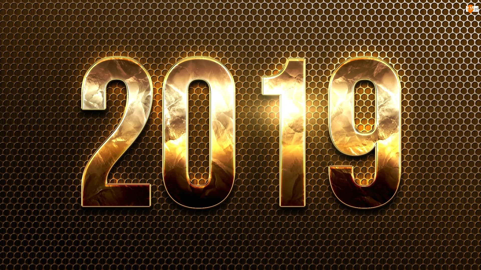 Złote, Nowy Rok, 2019, Cyfry