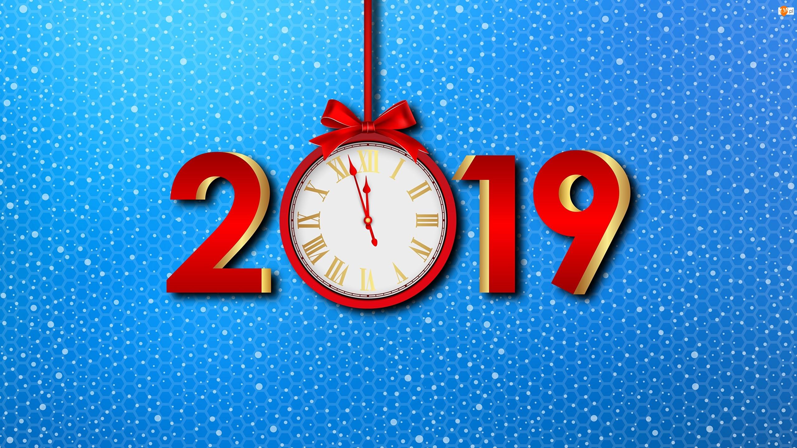2019, Kokarda, Nowy Rok, Zegar, Czas