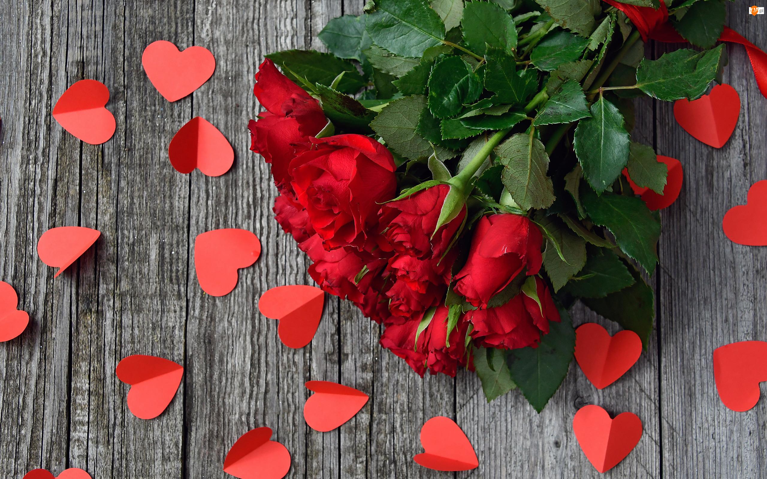 Bukiet, Czerwone, Serduszka, Walentynki, Papierowe, Kwiaty, Róże