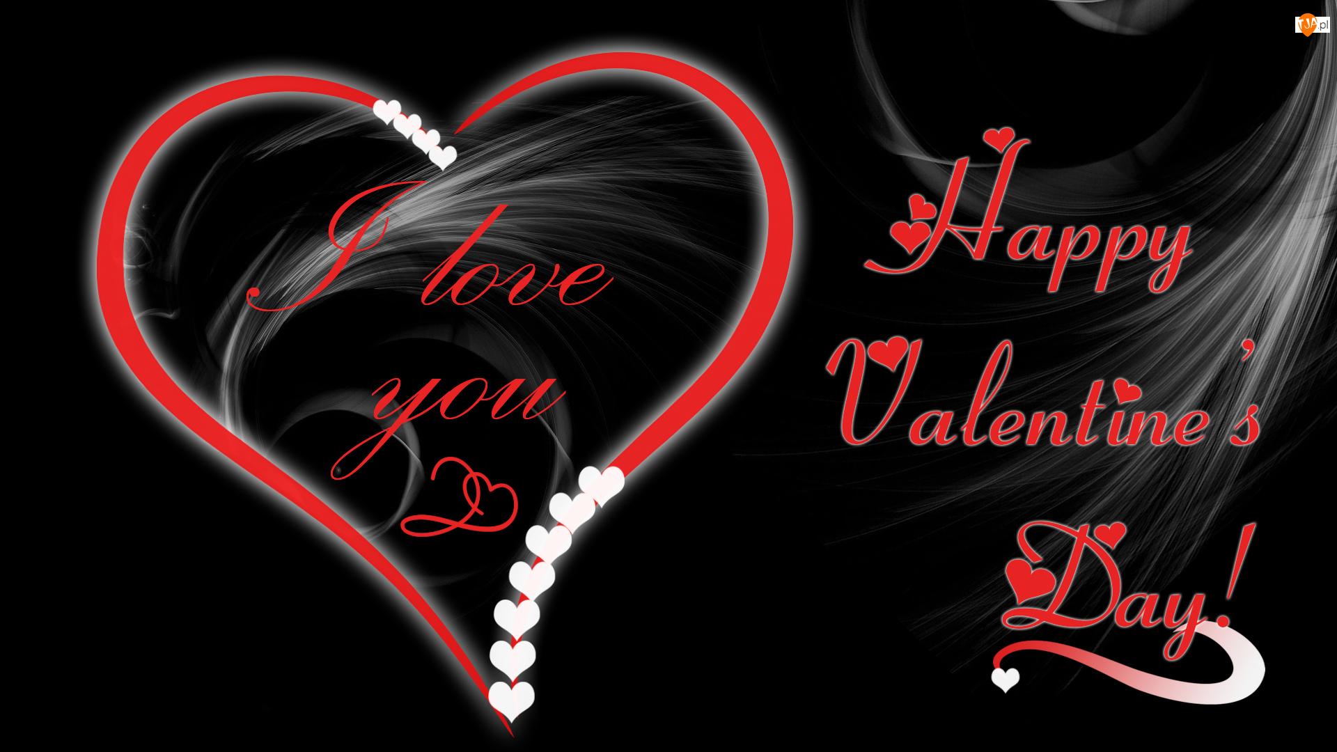 Serce, Walentynki, Litery, Tło, Napis, Czarne