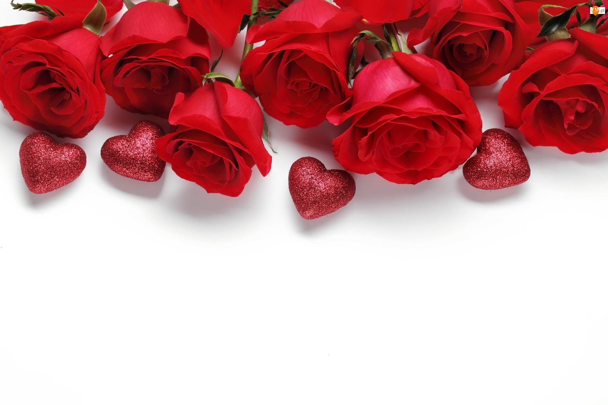 Róże, Brokatowe, Serduszka, Czerwone