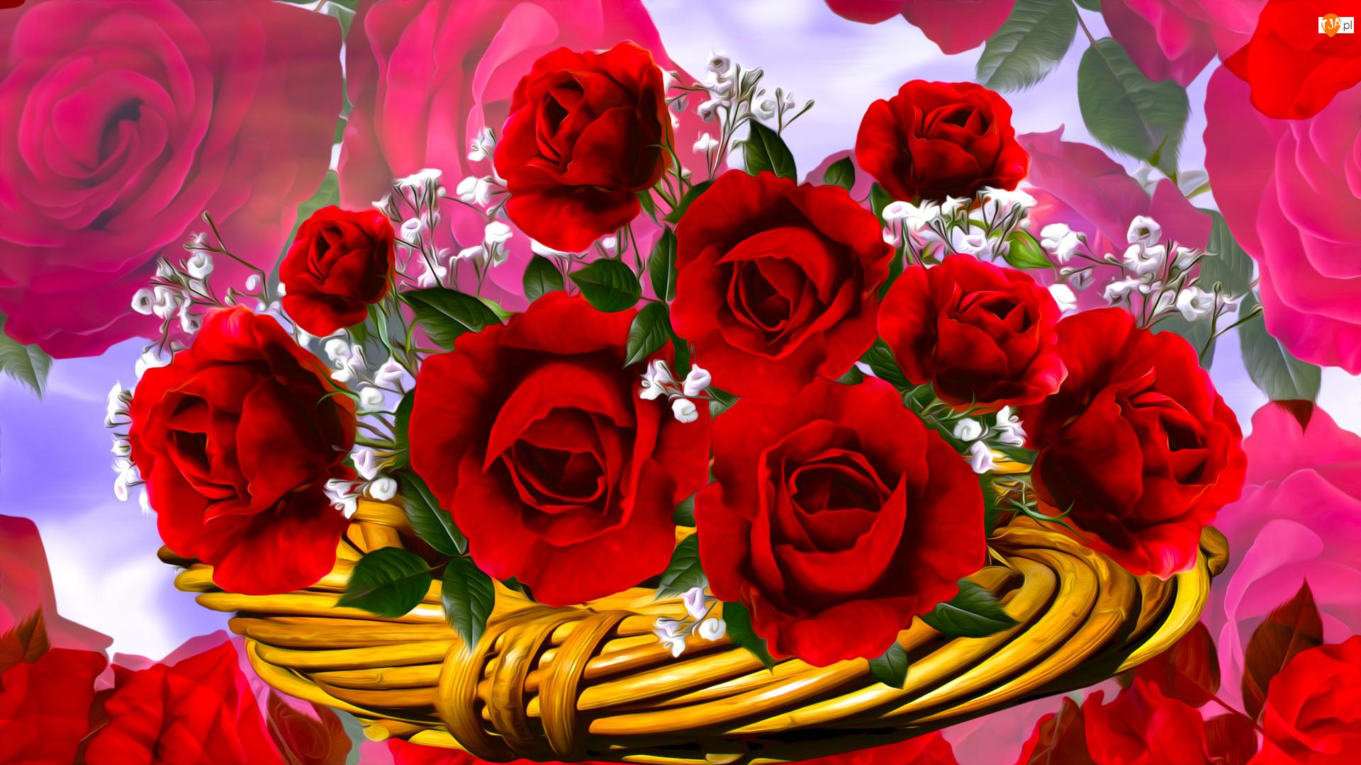 Róże, Grafika, Czerwone, Kwiaty, Koszyczek