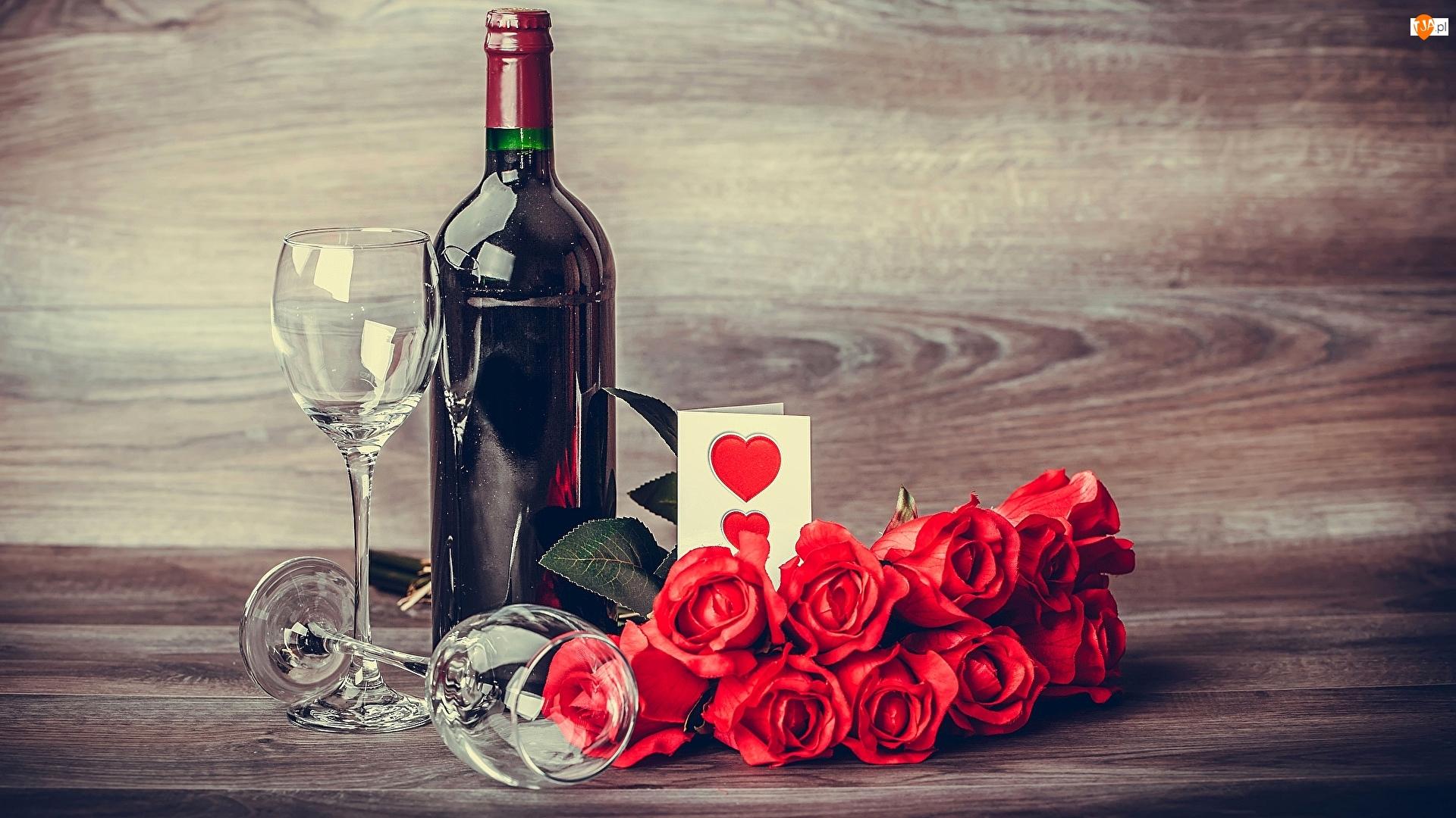 Butelka, Wino, Róże, Walentynki, Kieliszki, Kartka
