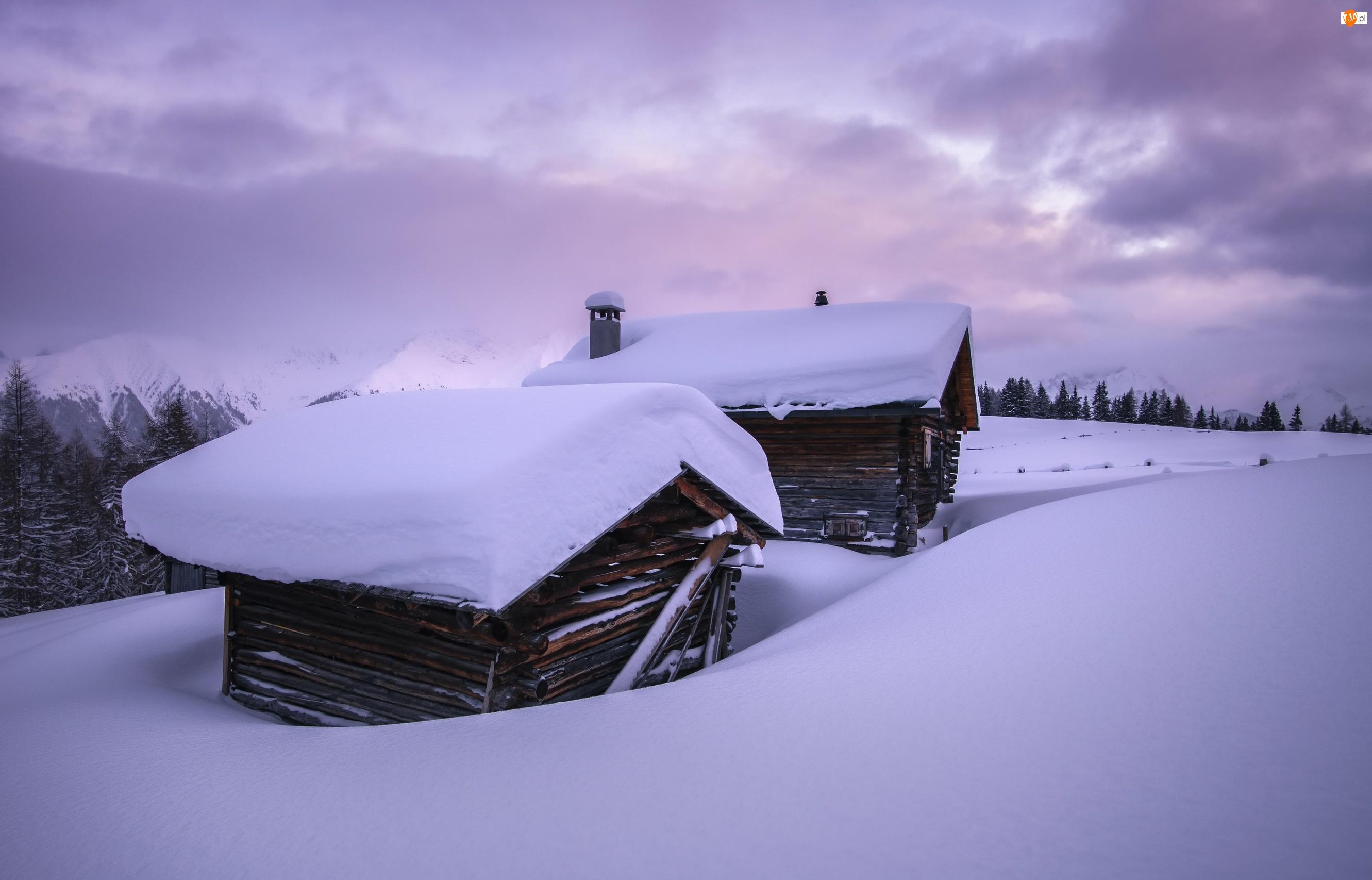 Drewniane, Domy, Drzewa, Zima, Góry, Dachy, Zaśnieżone