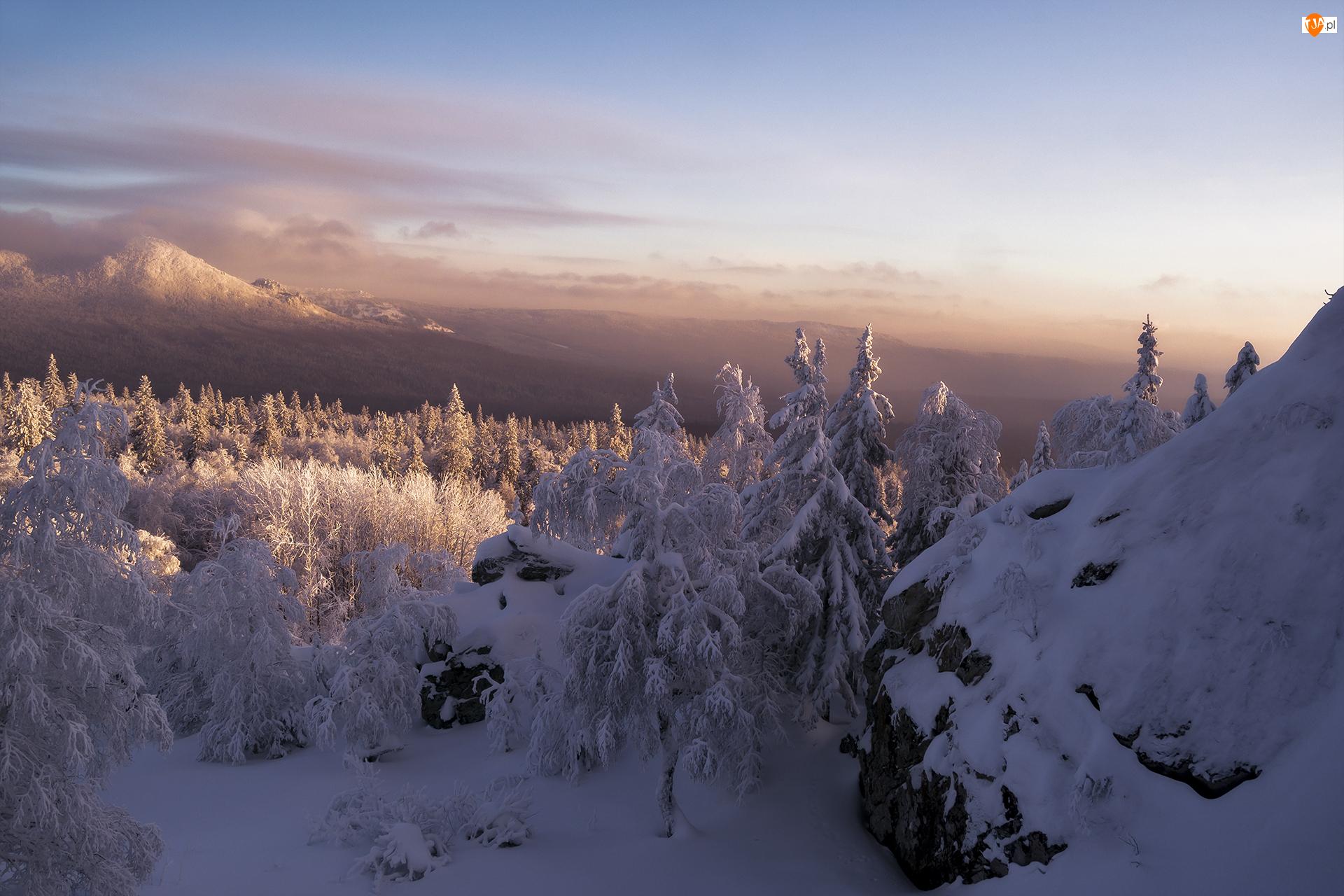 Skały, Drzewa, Rosja, Góry, Obwód czelabiński, Park Narodowy Taganaj, Zima