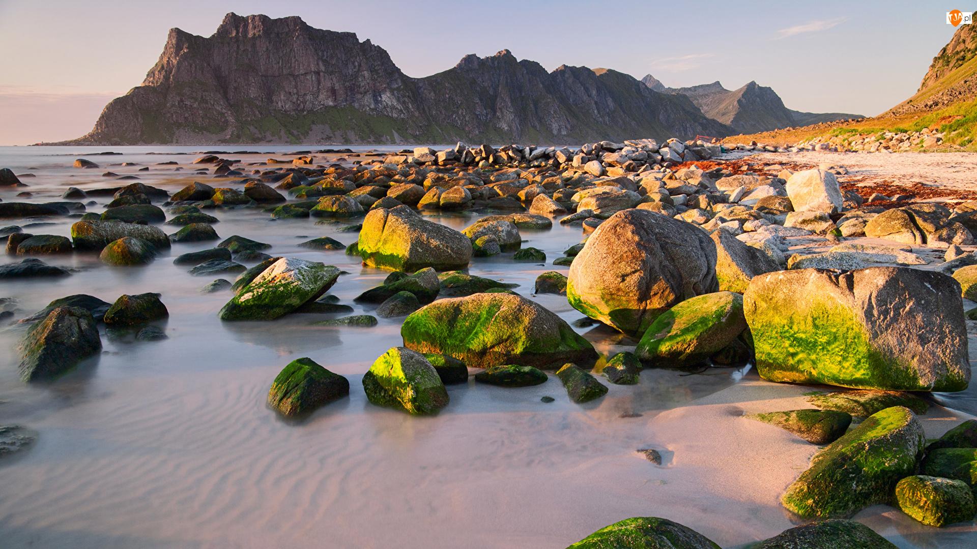 Wybrzeże, Kamienie, Lofoty, Norwegia, Góry