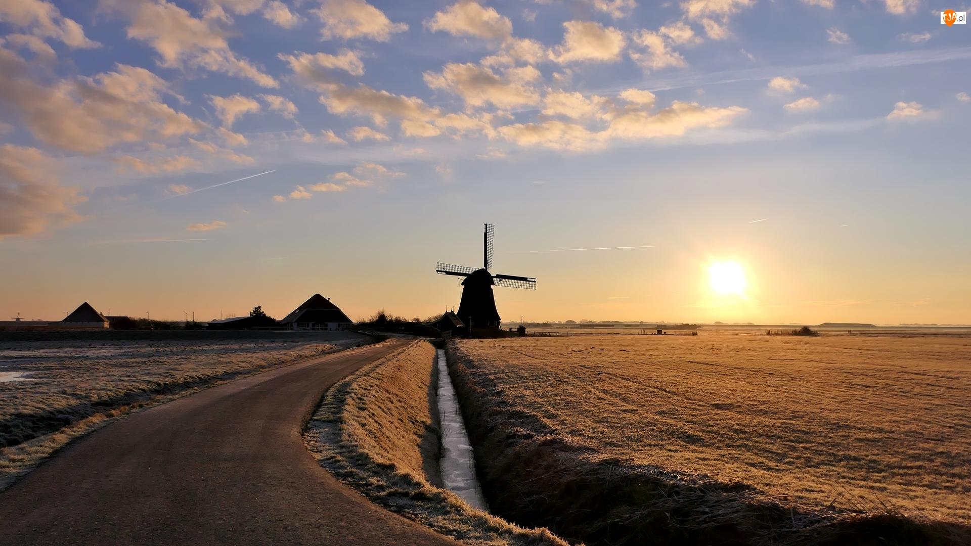 Droga, Wschód słońca, Pole, Wiatrak, Domy