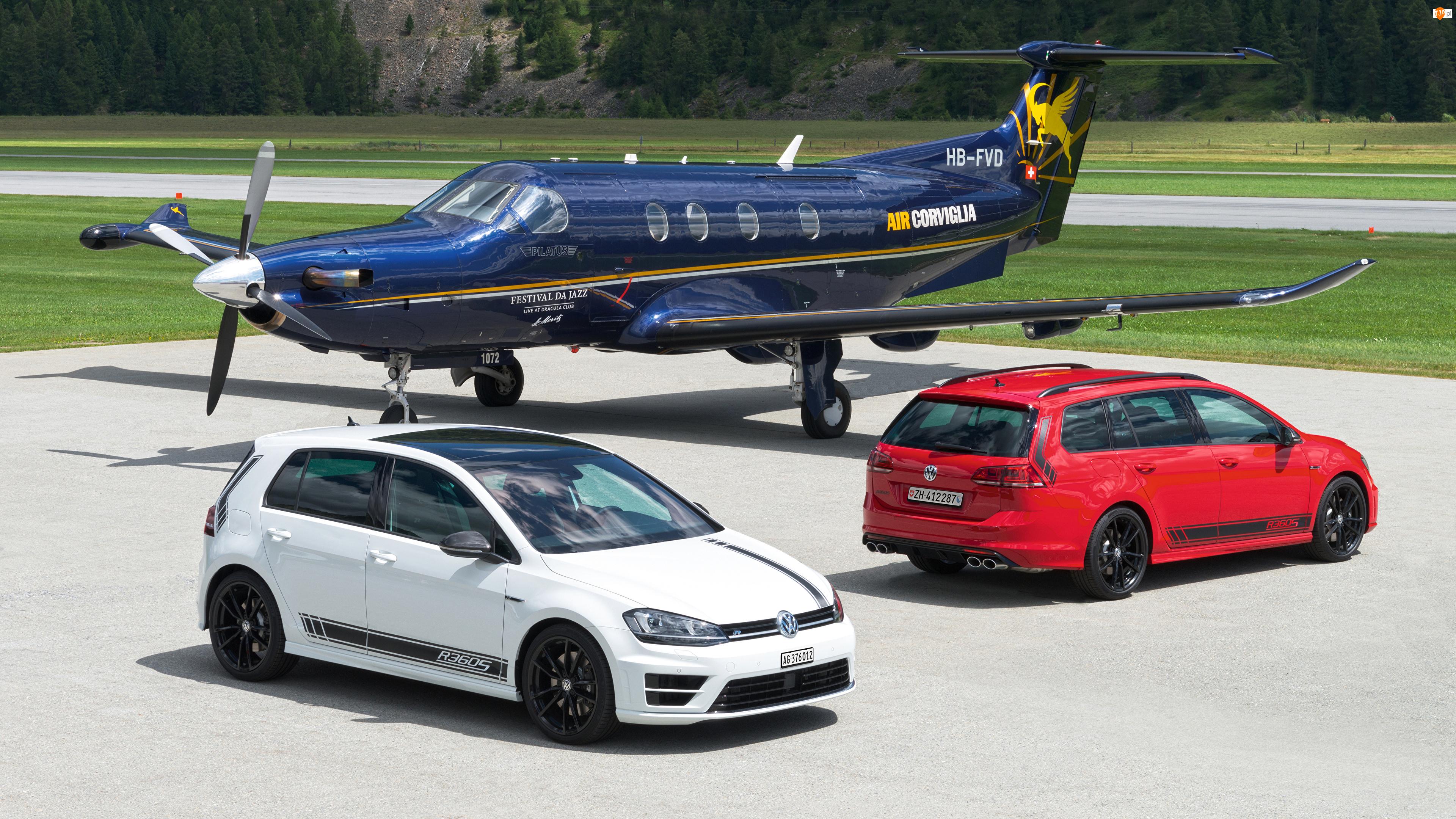 Samochody, Biały, Pilatus PC-12, Dwa, Samolot, Volkswagen Golf R360S, Czerwony