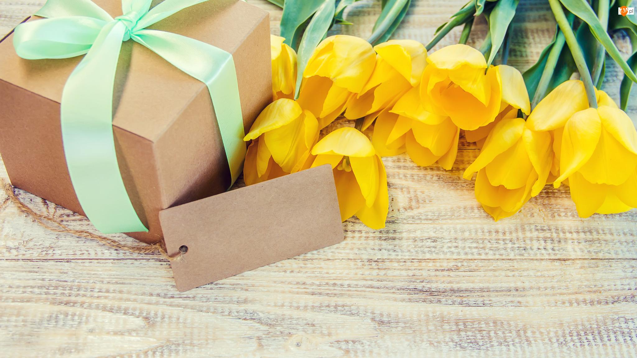 Karteczka, Żółte, Tulipany, Prezent
