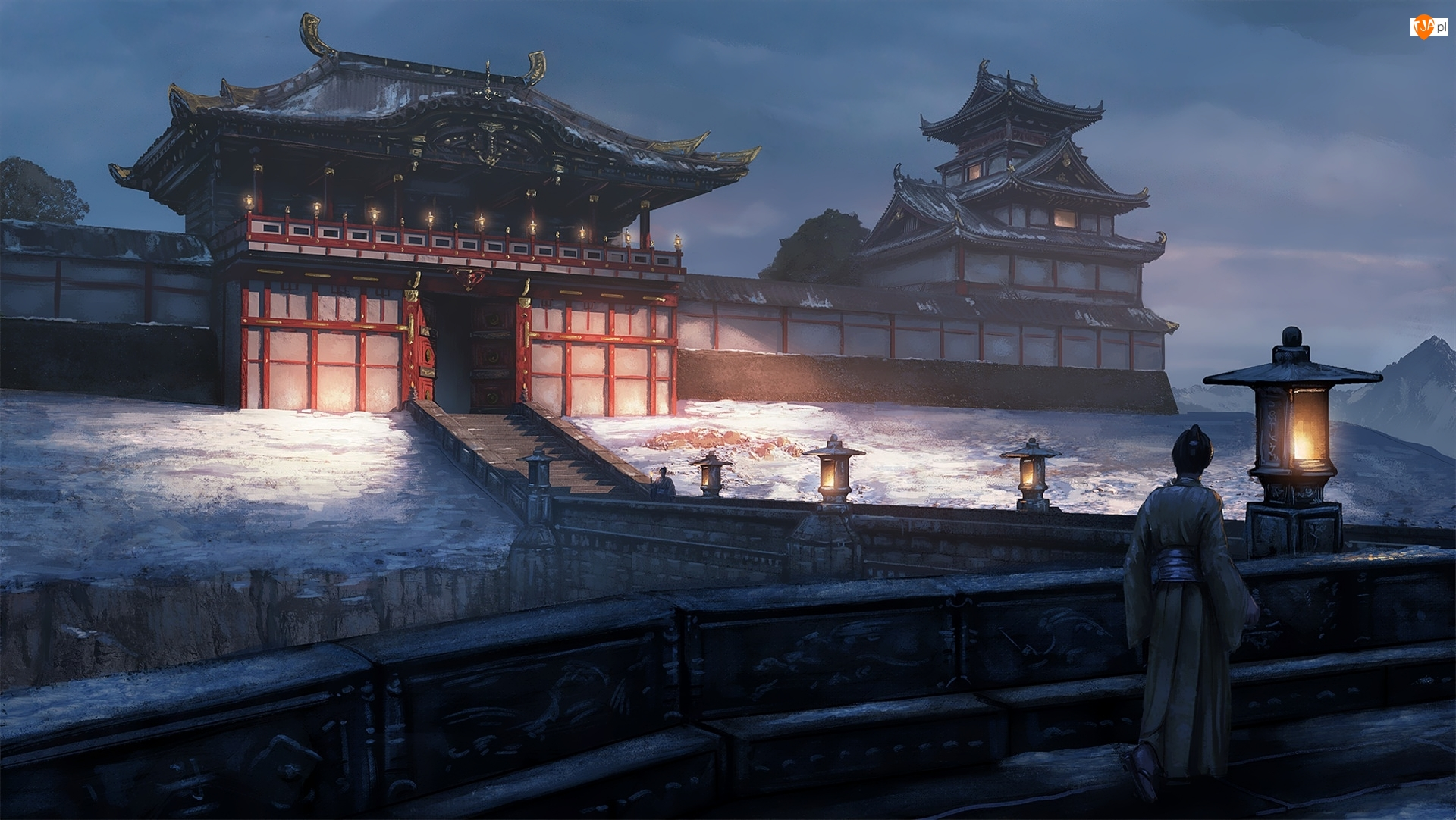 Lampy, Digital Art, Japońska, Świątynia
