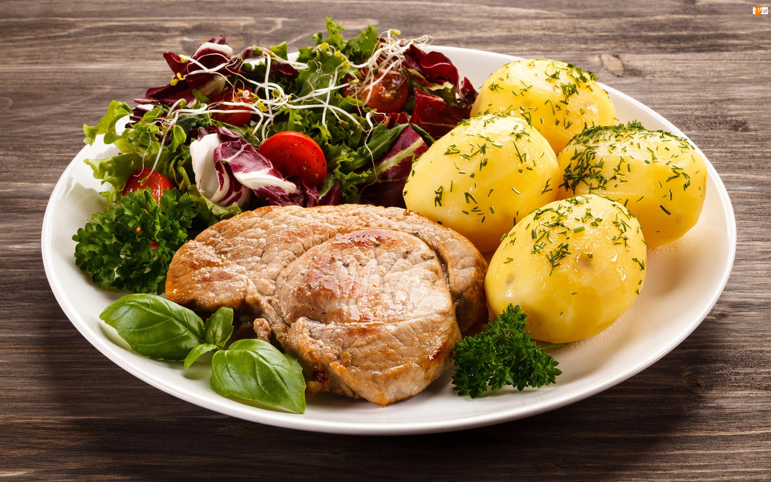 Obiad, Stek, Ziemniaki, Sałatka
