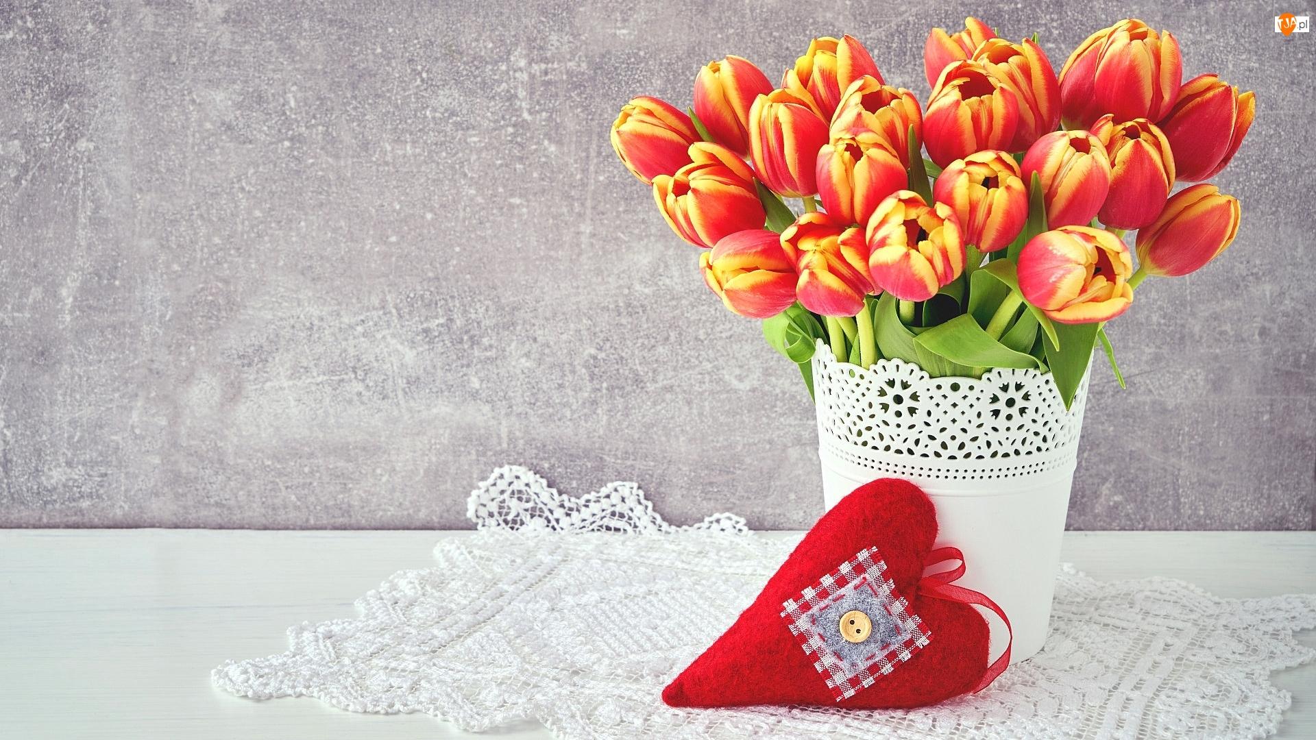 Serwetka, Tulipany, Doniczka, Serce