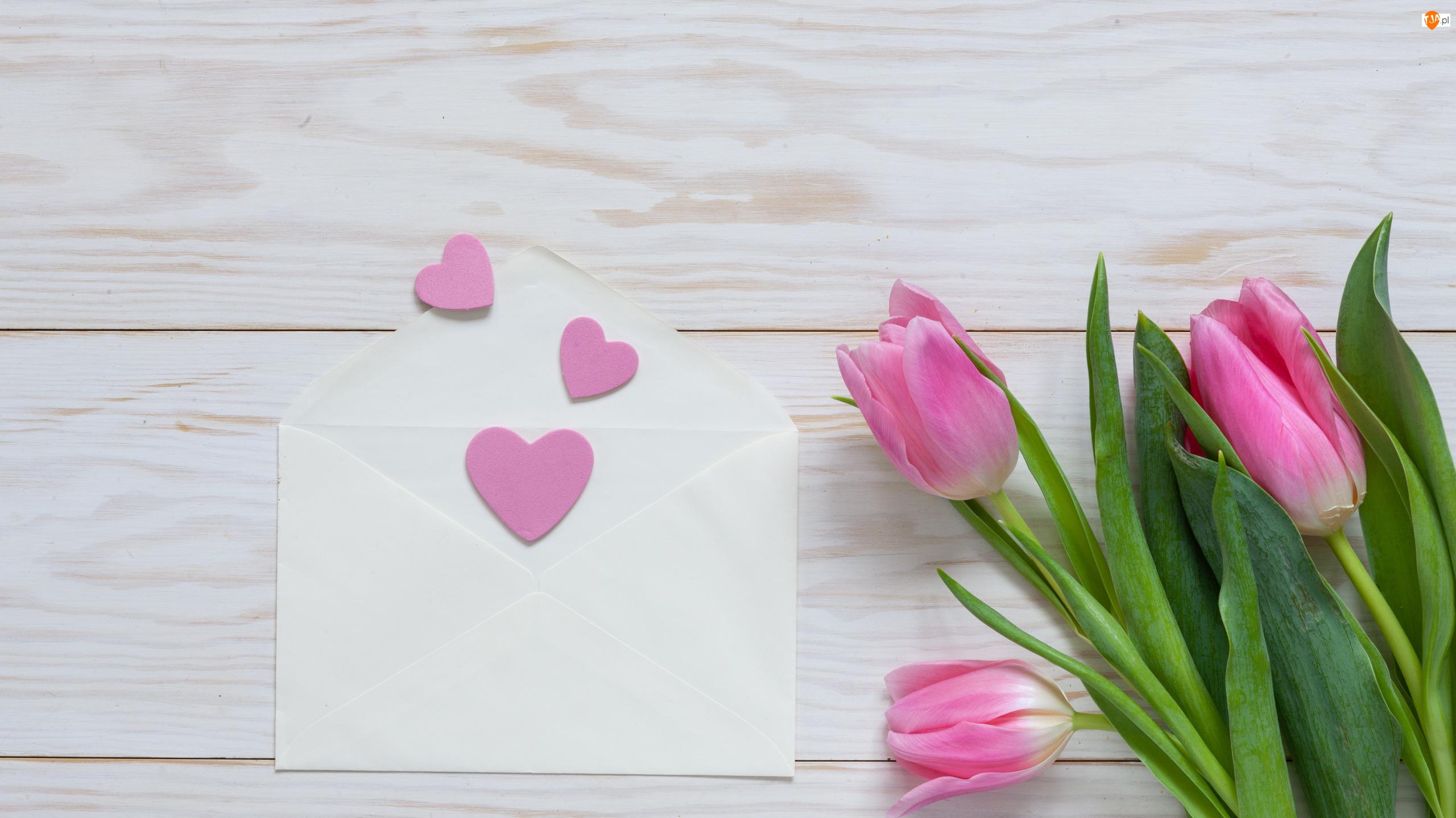 Walentynki, Tulipany, Koperta, Serduszka