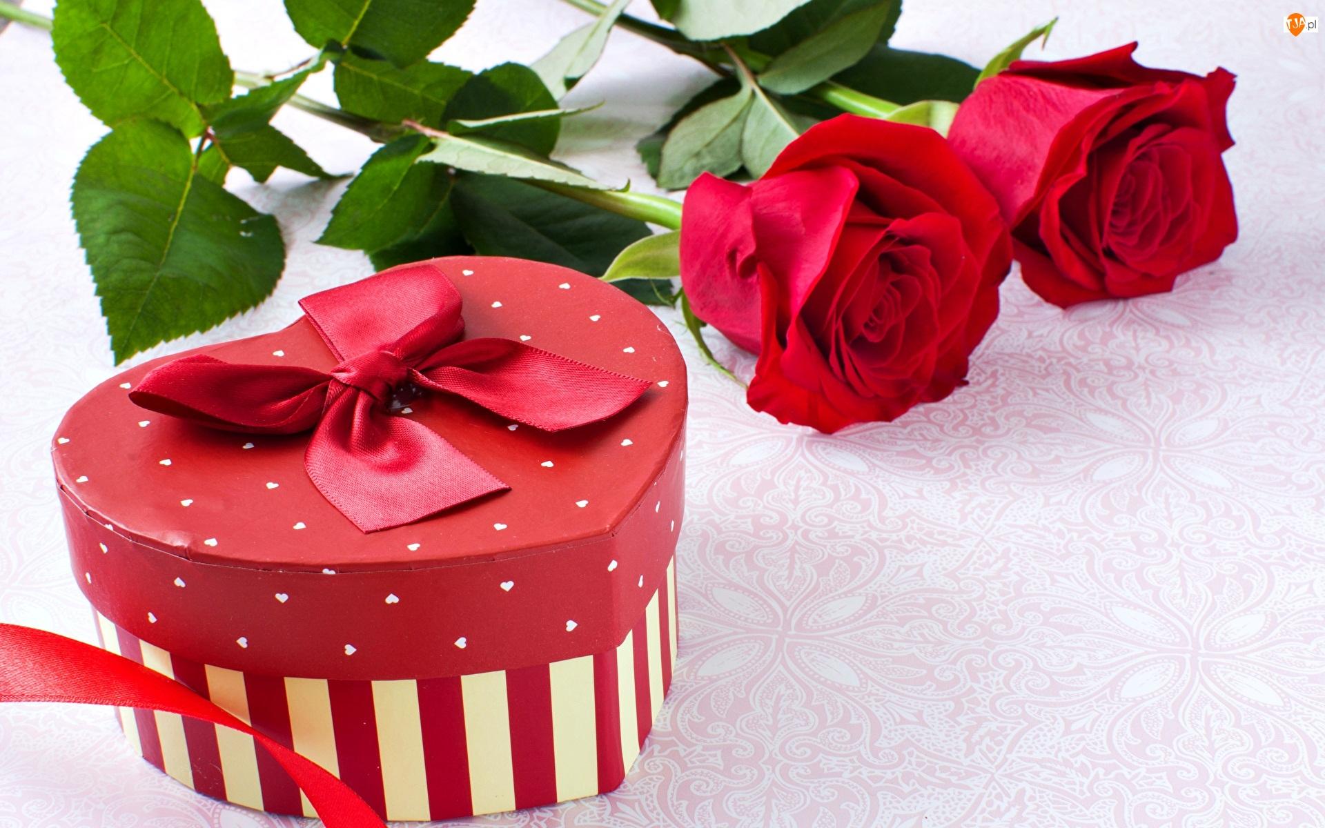 Pudełko, Kokarda, Róże, Czerwone, Serce