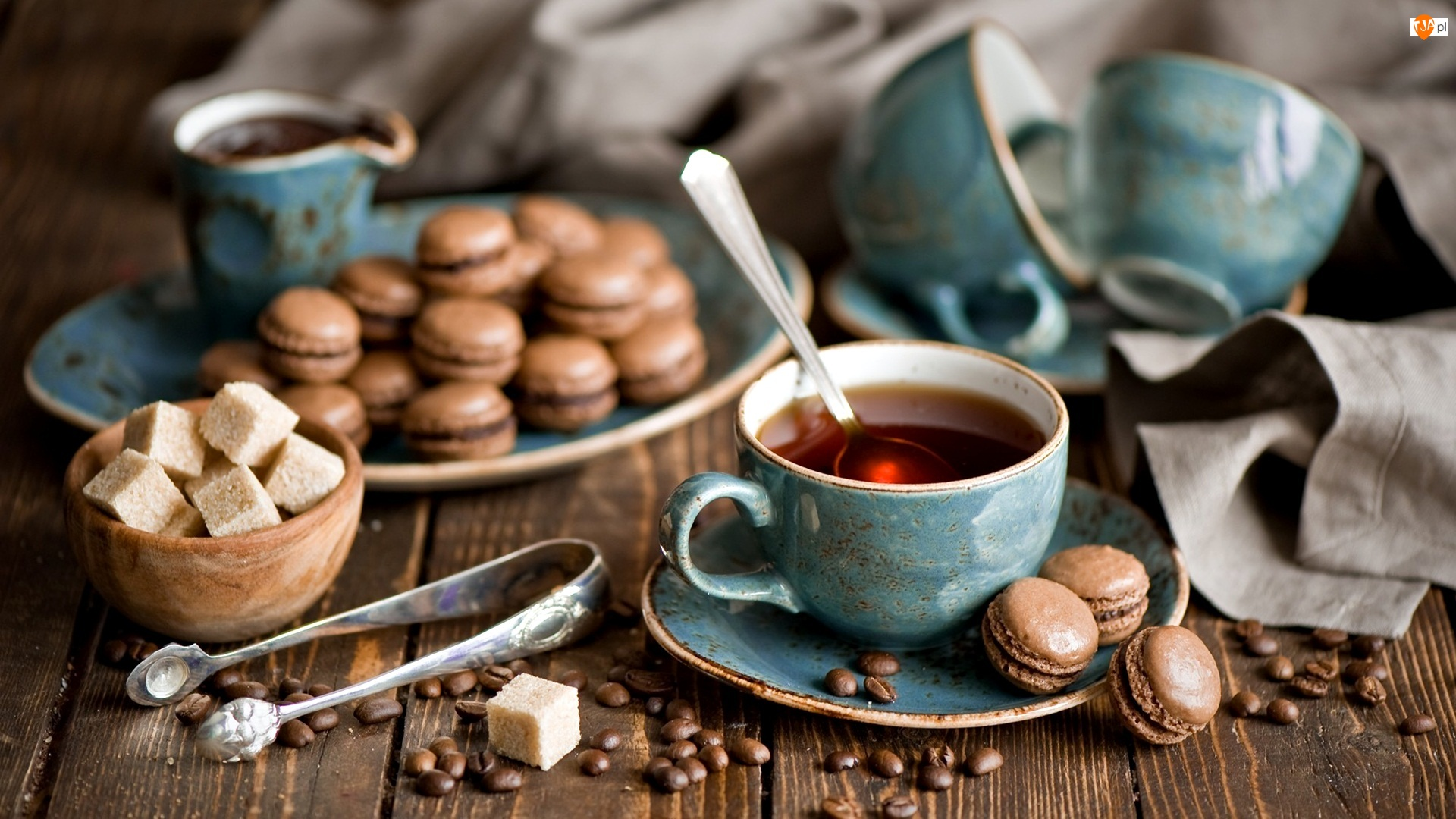 Herbata, Ciasteczka, Kostki, Filiżanka, Cukier, Brązowy, Makaroniki
