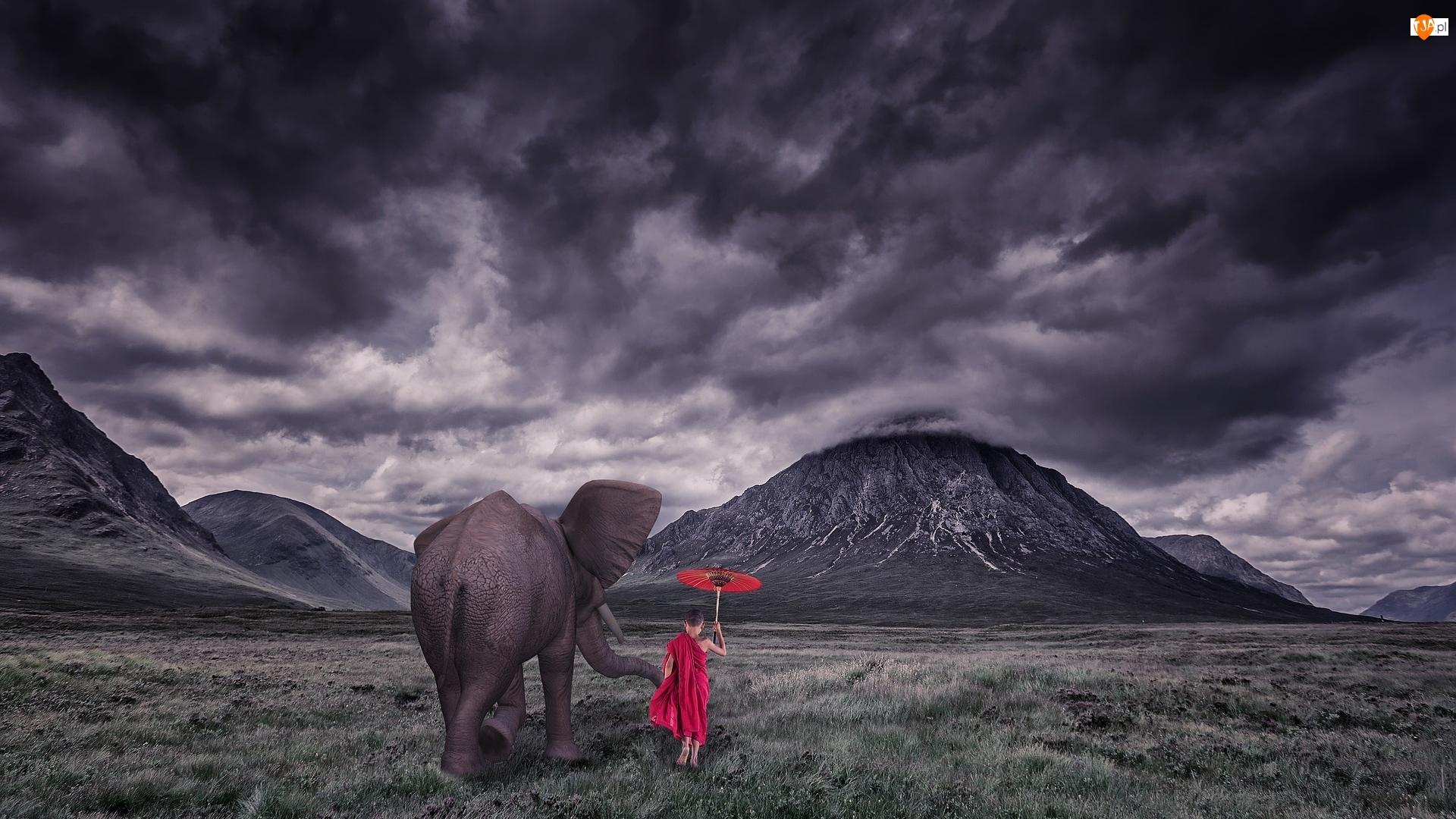 Dziecko, Czerwona, Chmury, Góry, Ciemne, Słoń, Parasolka