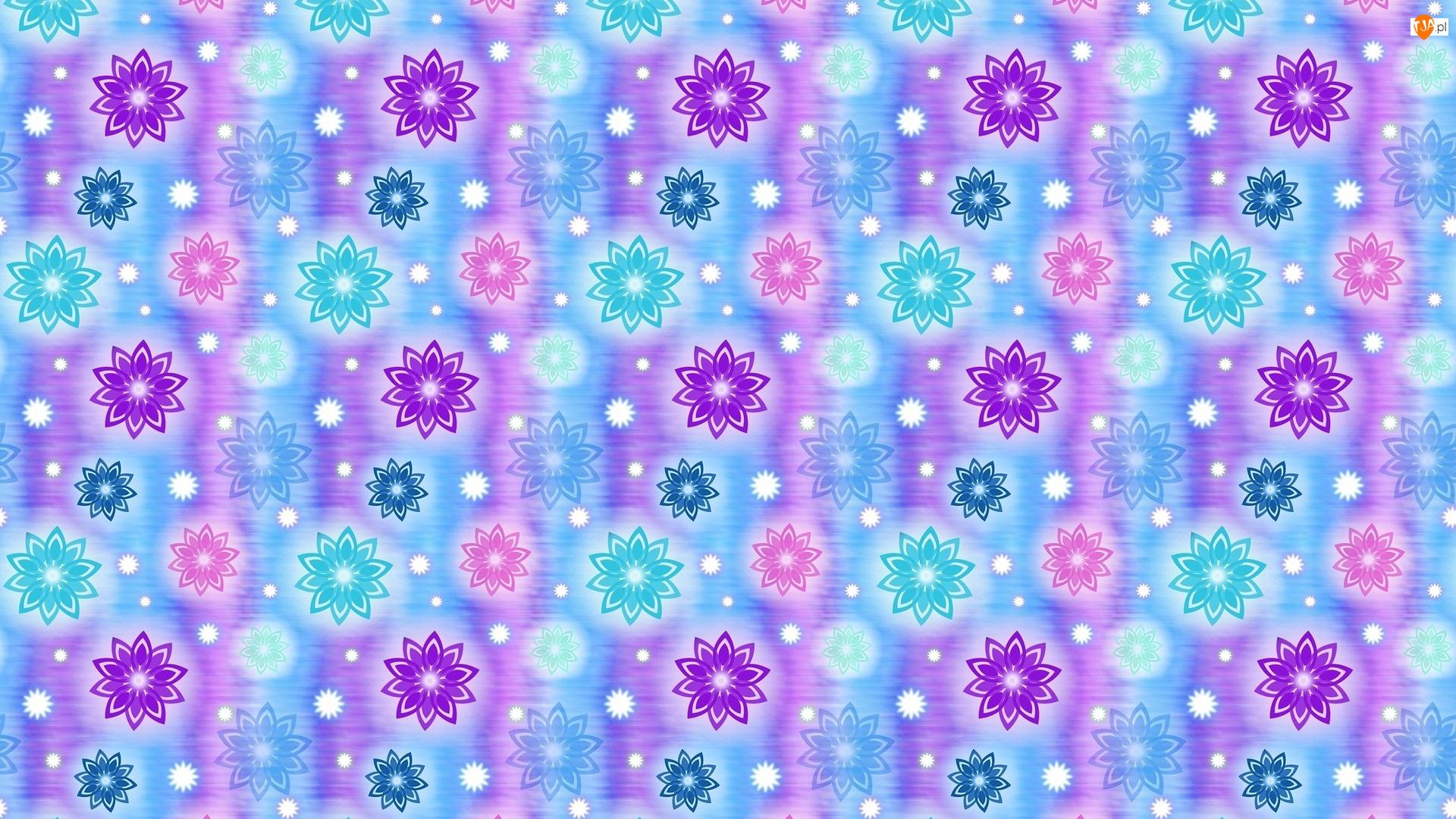 Niebieskie, Kwiaty, Fioletowe, Tekstura, Turkusowe