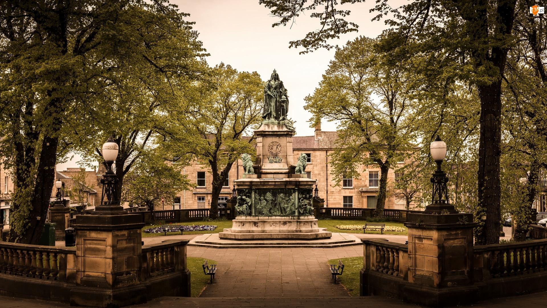 Królowej Wiktorii, Pomnik, Drzewa, Anglia, Park, Lancaster