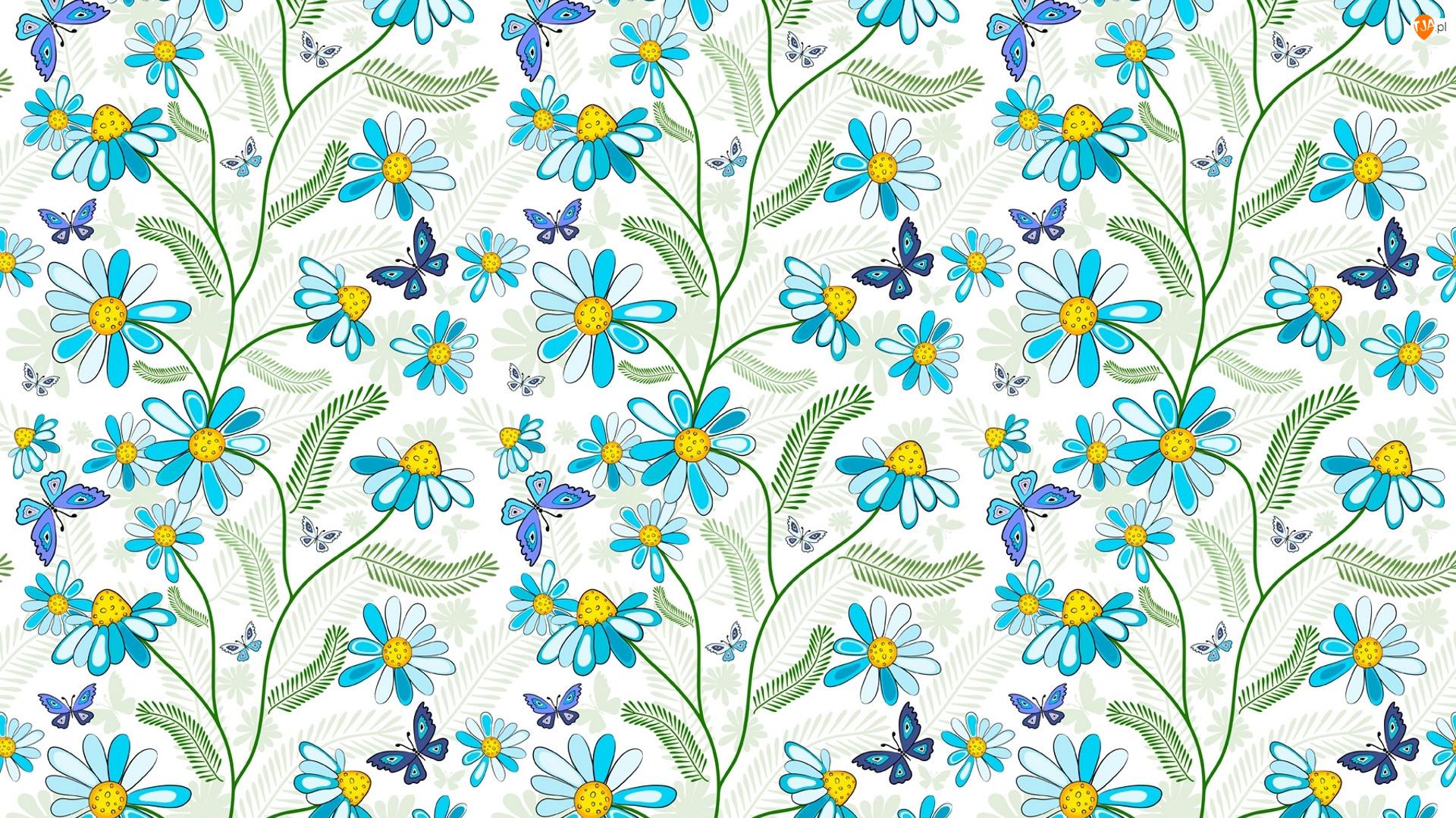 Niebieski, Tekstura, Kwiaty, Motylki, Wzór